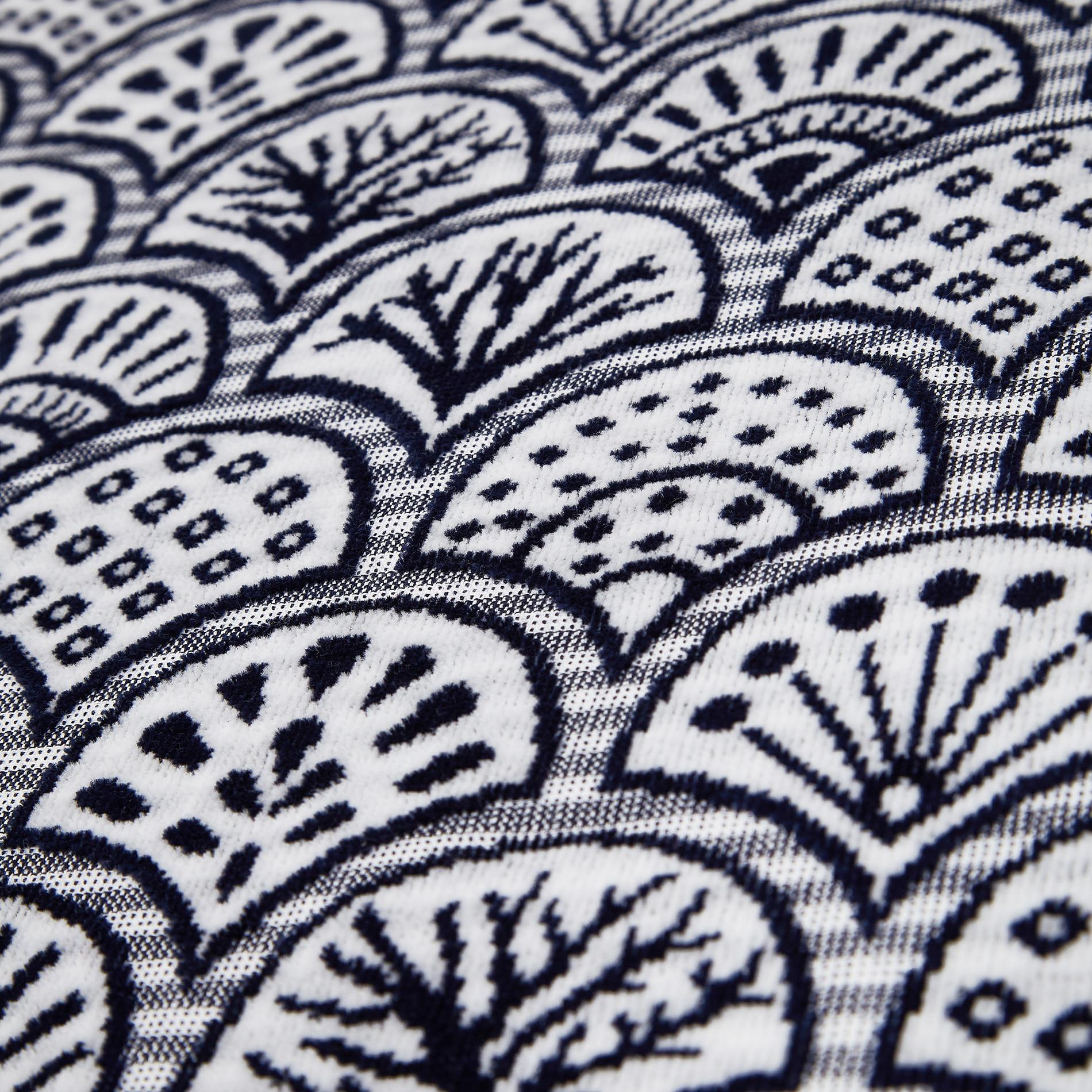 Asciugamano cotone velour motivo ventagli, Blu scuro, large image number 2