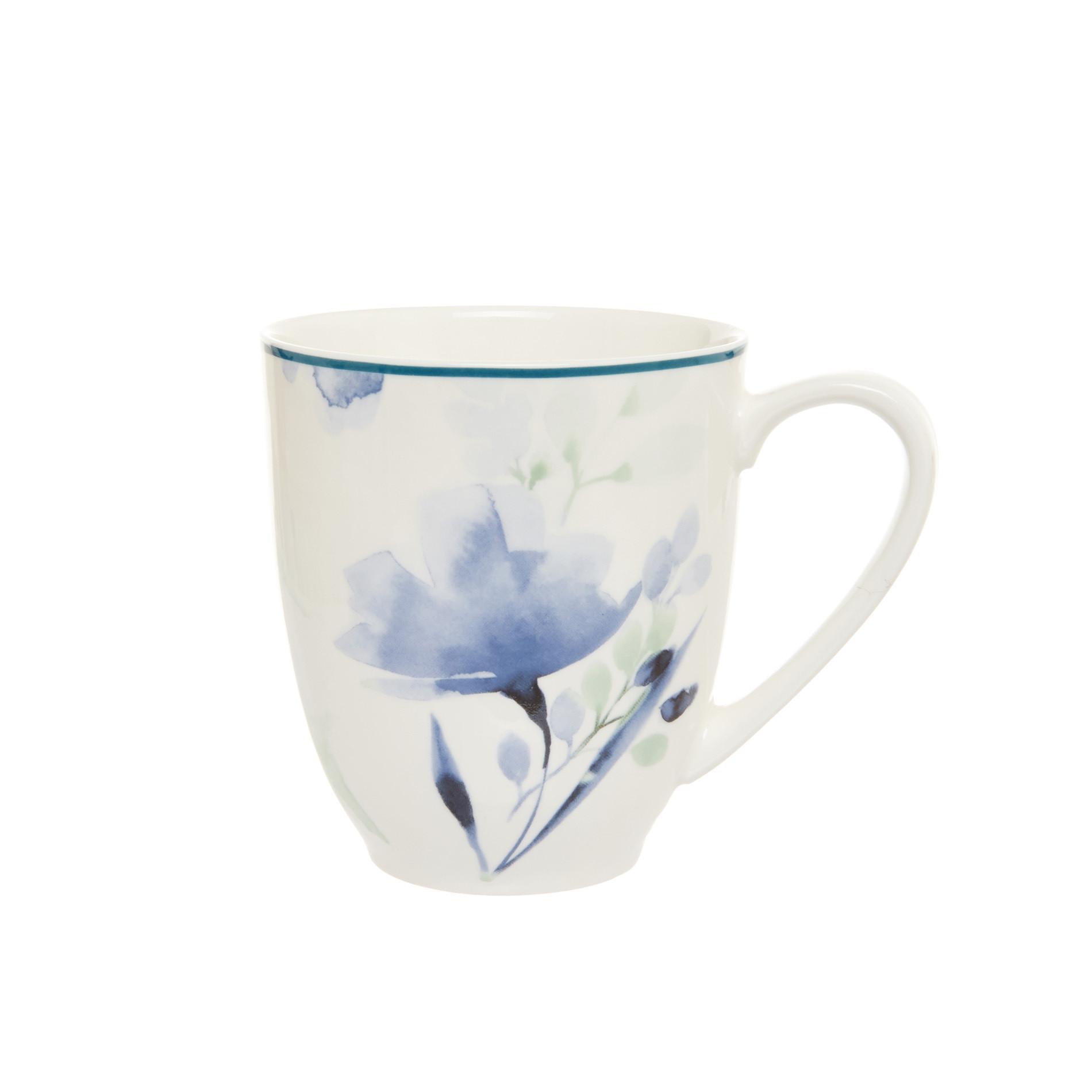 Mug new bone china motivo floreale, Bianco panna, large image number 0