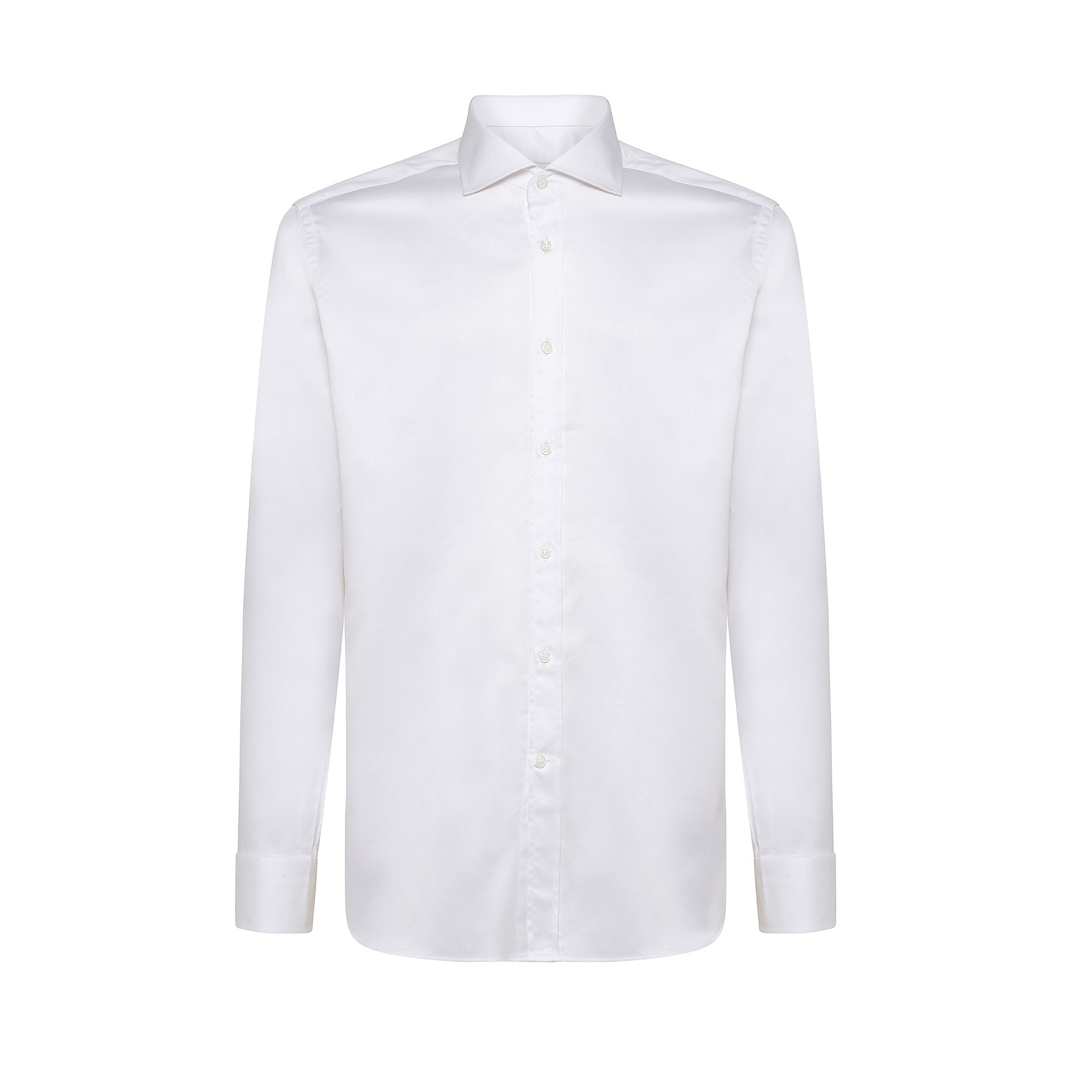 Camicia colletto francese regular fit in cotone, Bianco, large image number 0