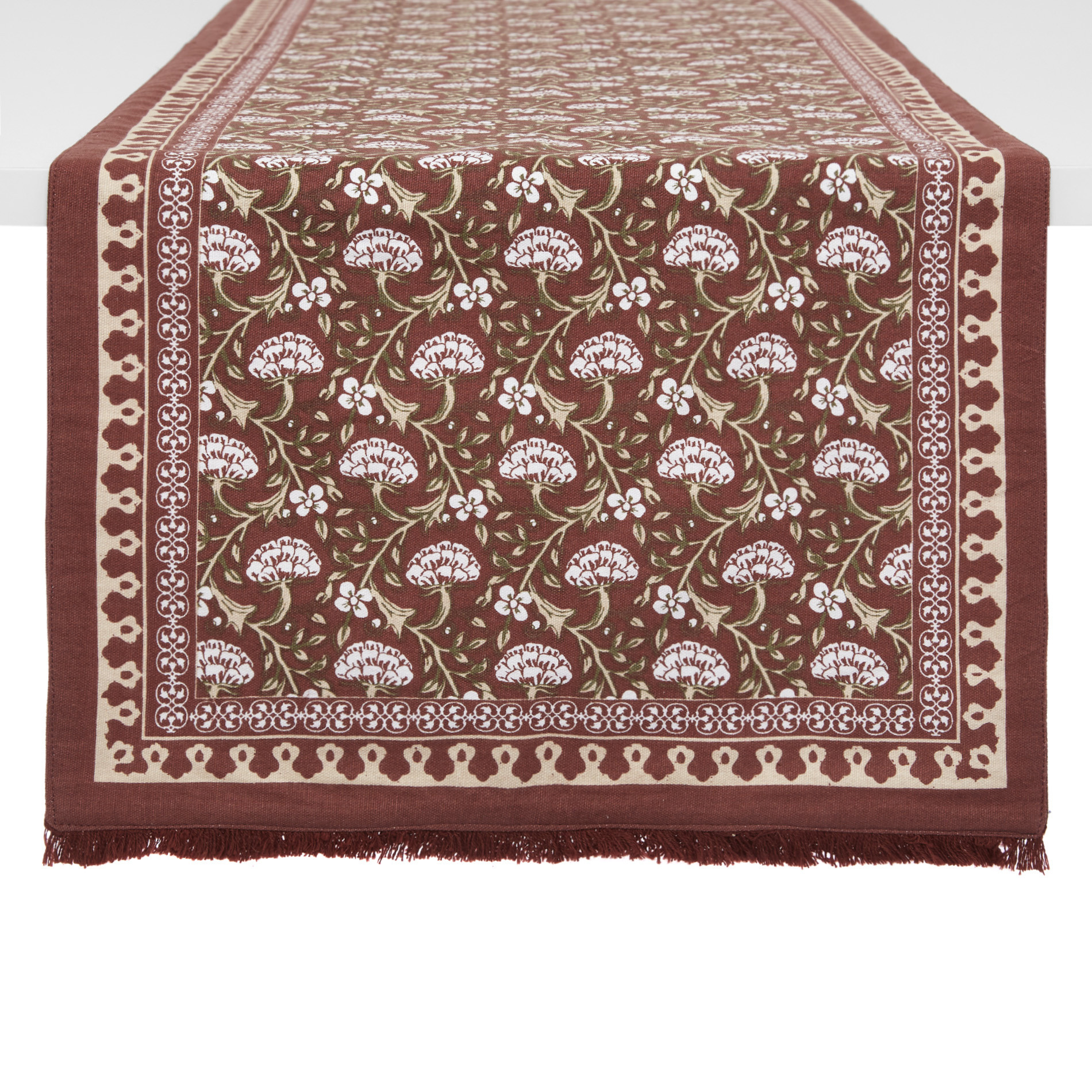 Runner puro cotone stampa ornamentale, Marrone chiaro, large image number 0