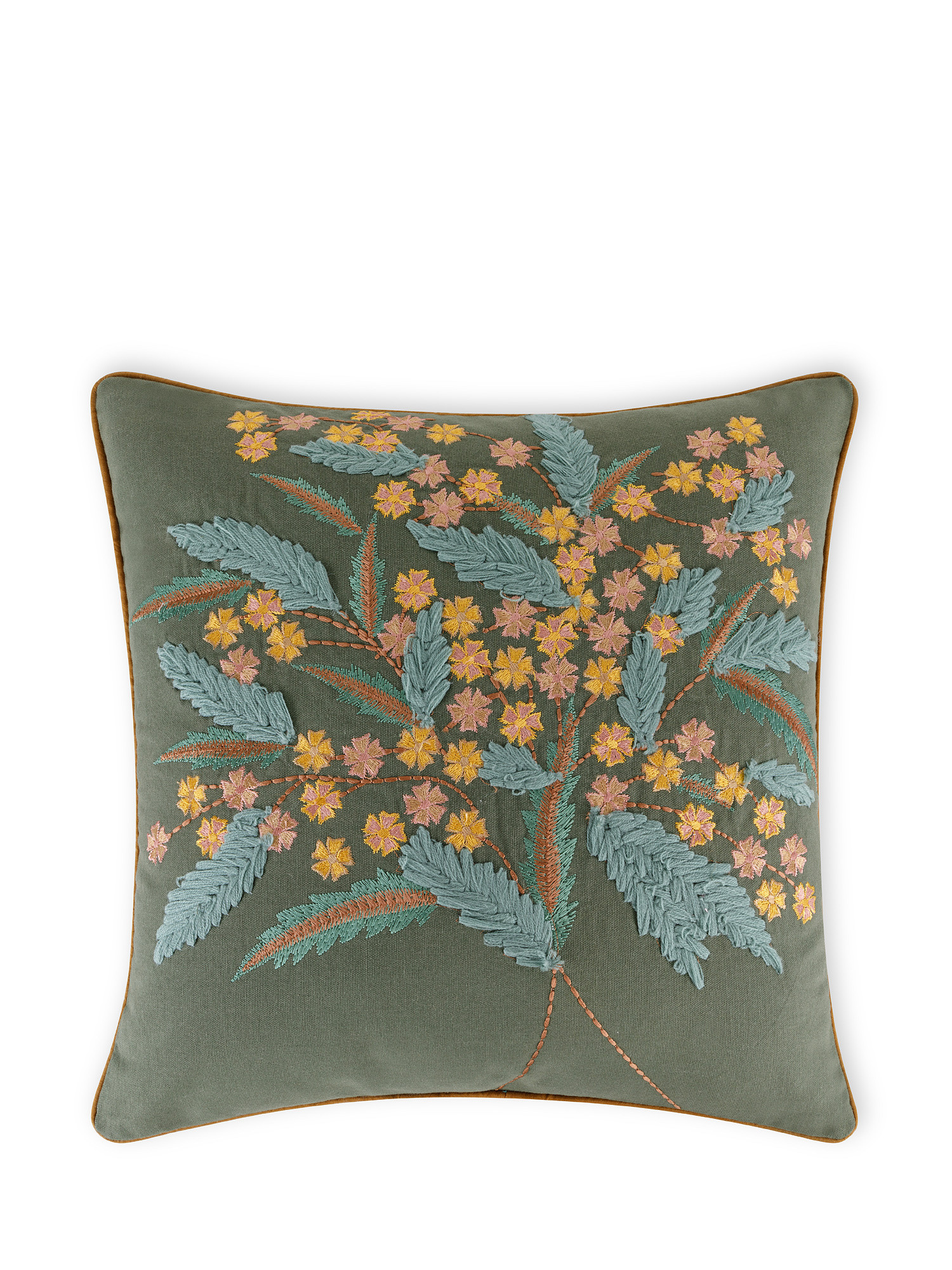 Cuscino cotone ricamo bouquet 45x45cm, Multicolor, large image number 0