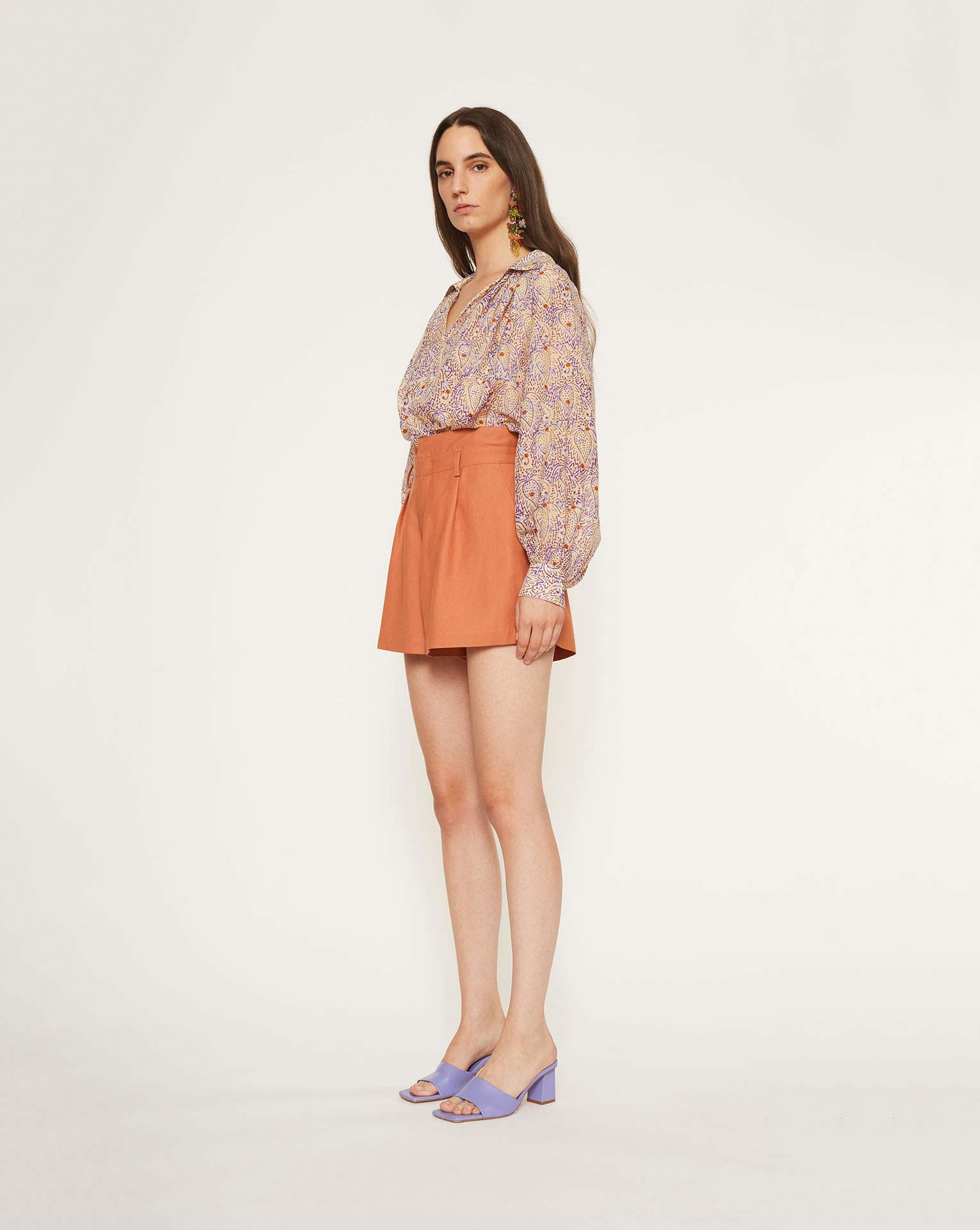 Shorts in shantung Ginger, Marrone, large image number 1