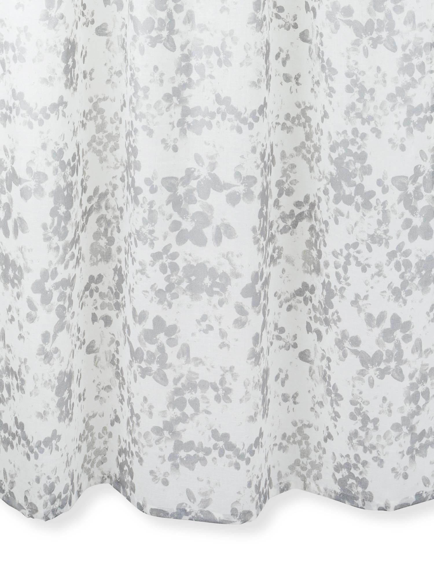 Tenda stampa floreale con passanti nascosti, Grigio, large image number 0