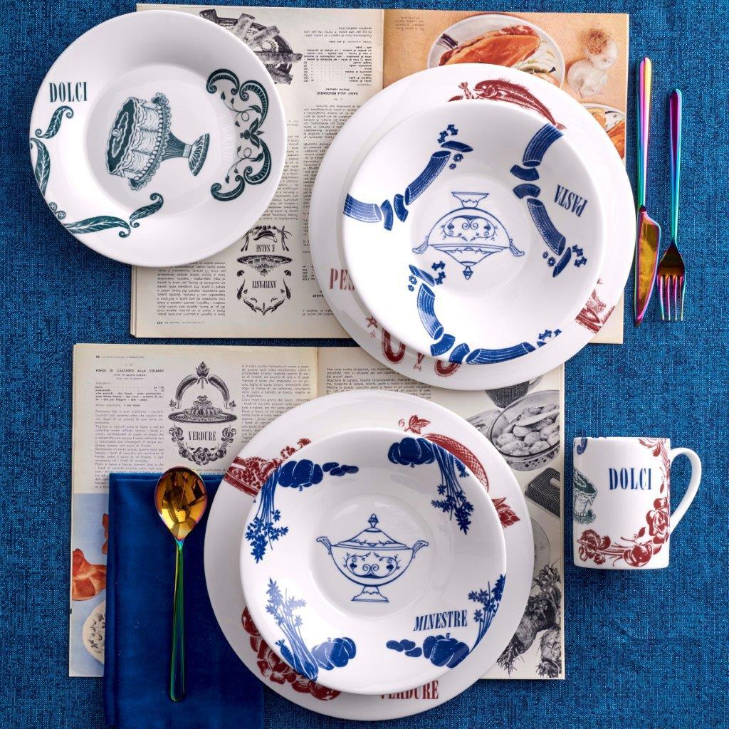 Piatto frutta fine bone china decoro vintage La Cucina Italiana, Bianco, large image number 1