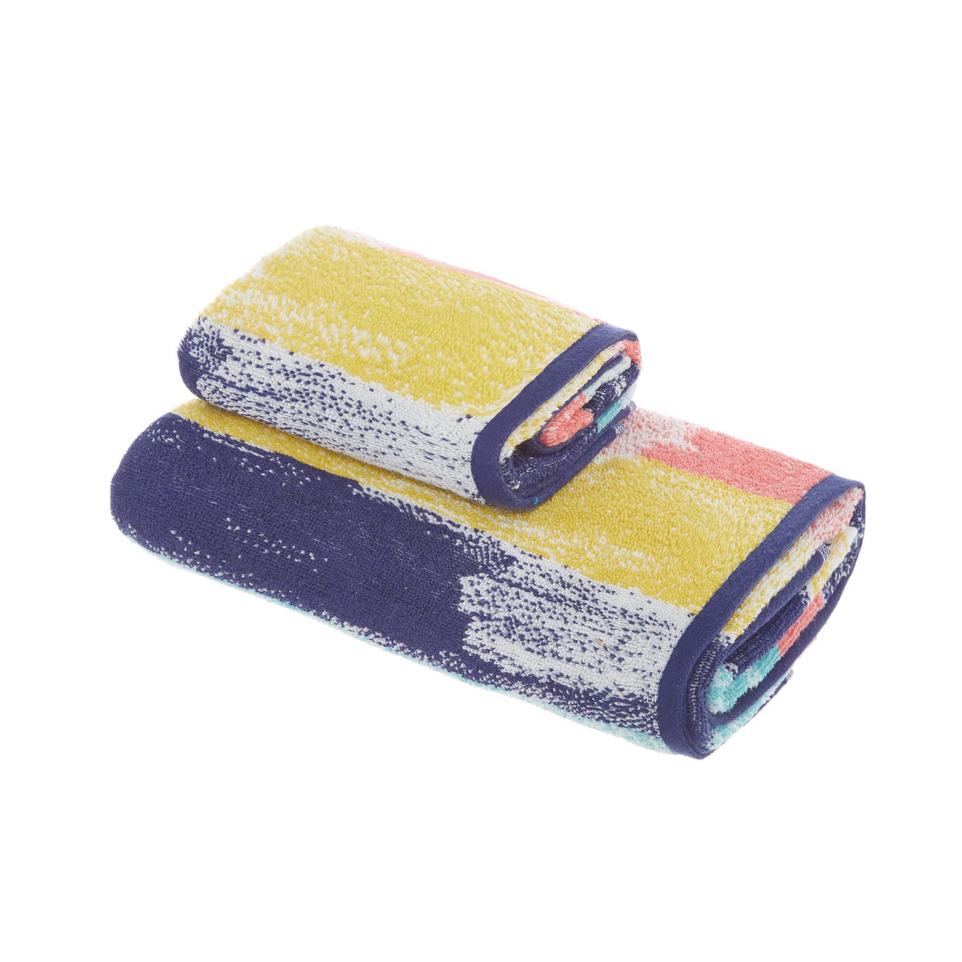Asciugamano spugna di cotone fantasia pennellate, Multicolor, large image number 0