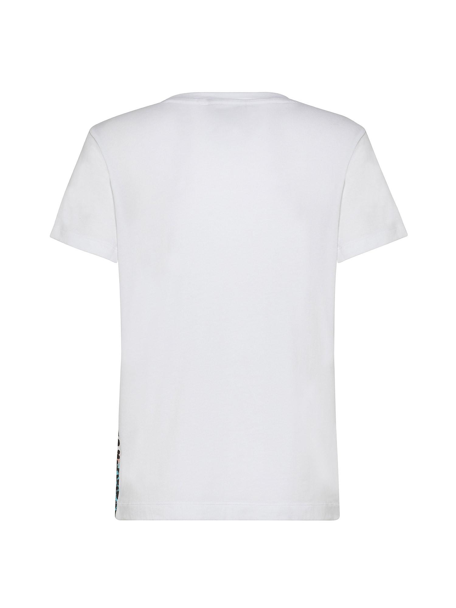 T-Shirt con logo leopardato, Bianco, large image number 1