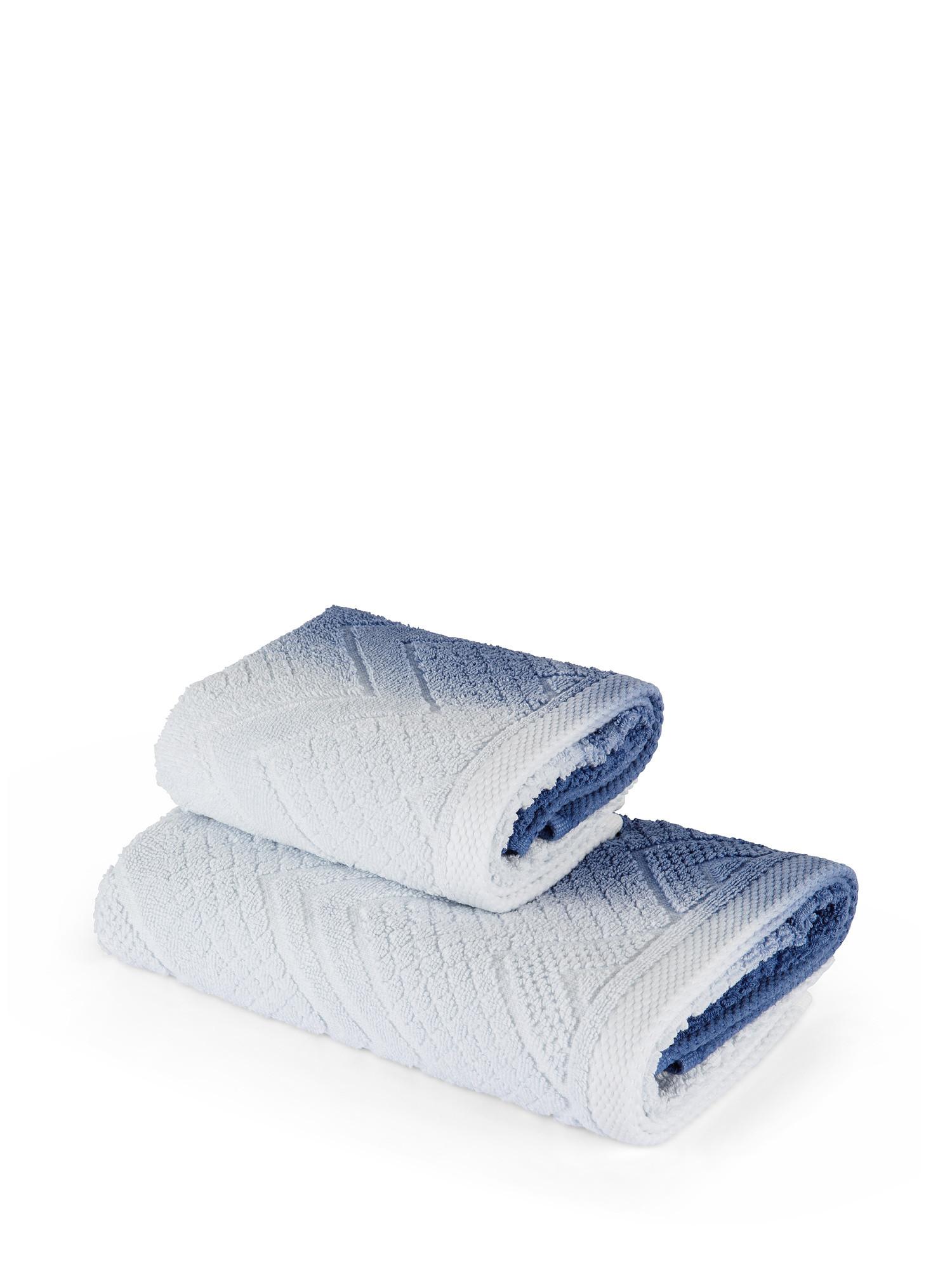 Asciugamano spugna di cotone dip dye, Blu, large image number 1