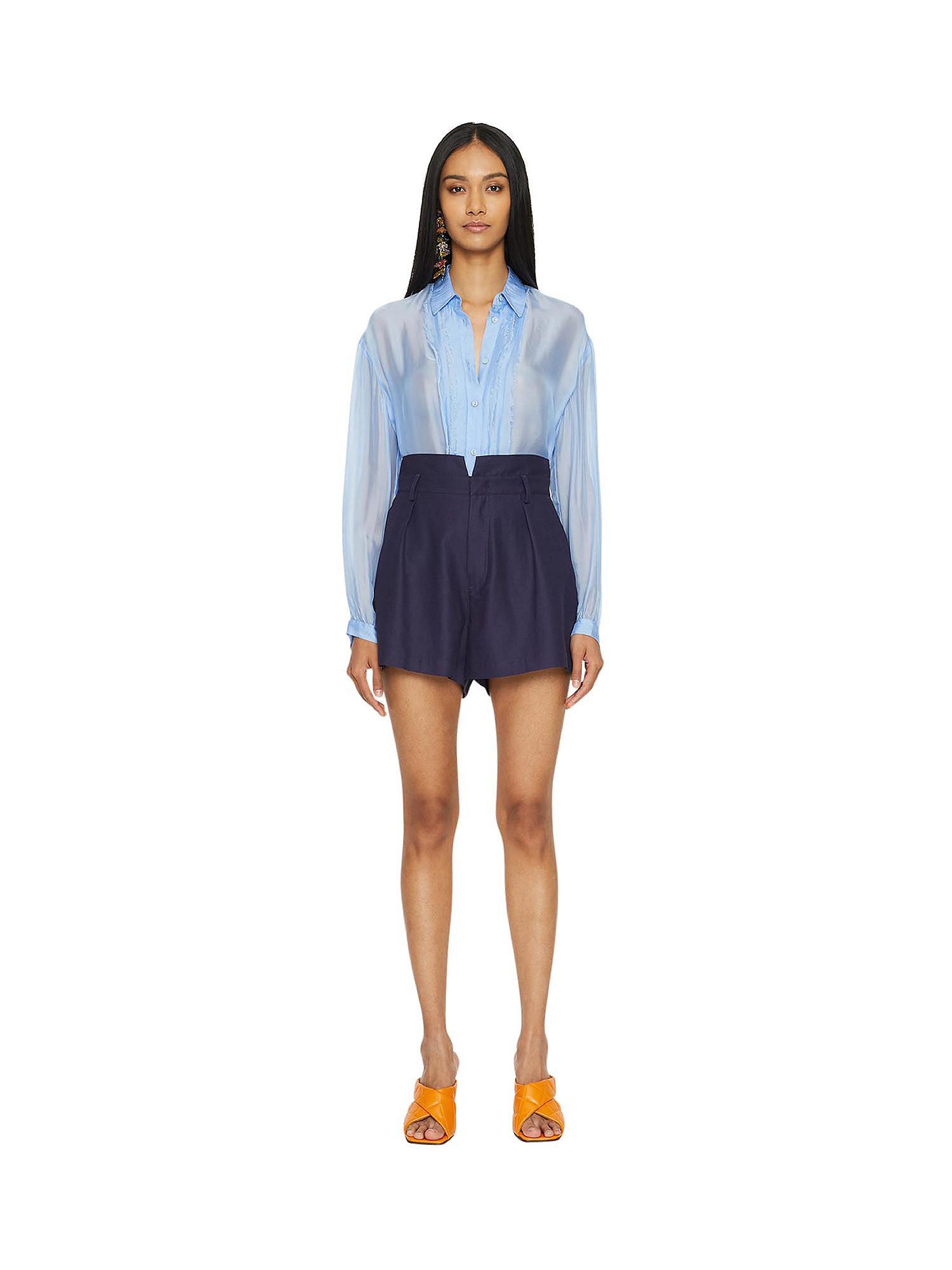 Camicia in chiffon Vanilla, Azzurro, large image number 2
