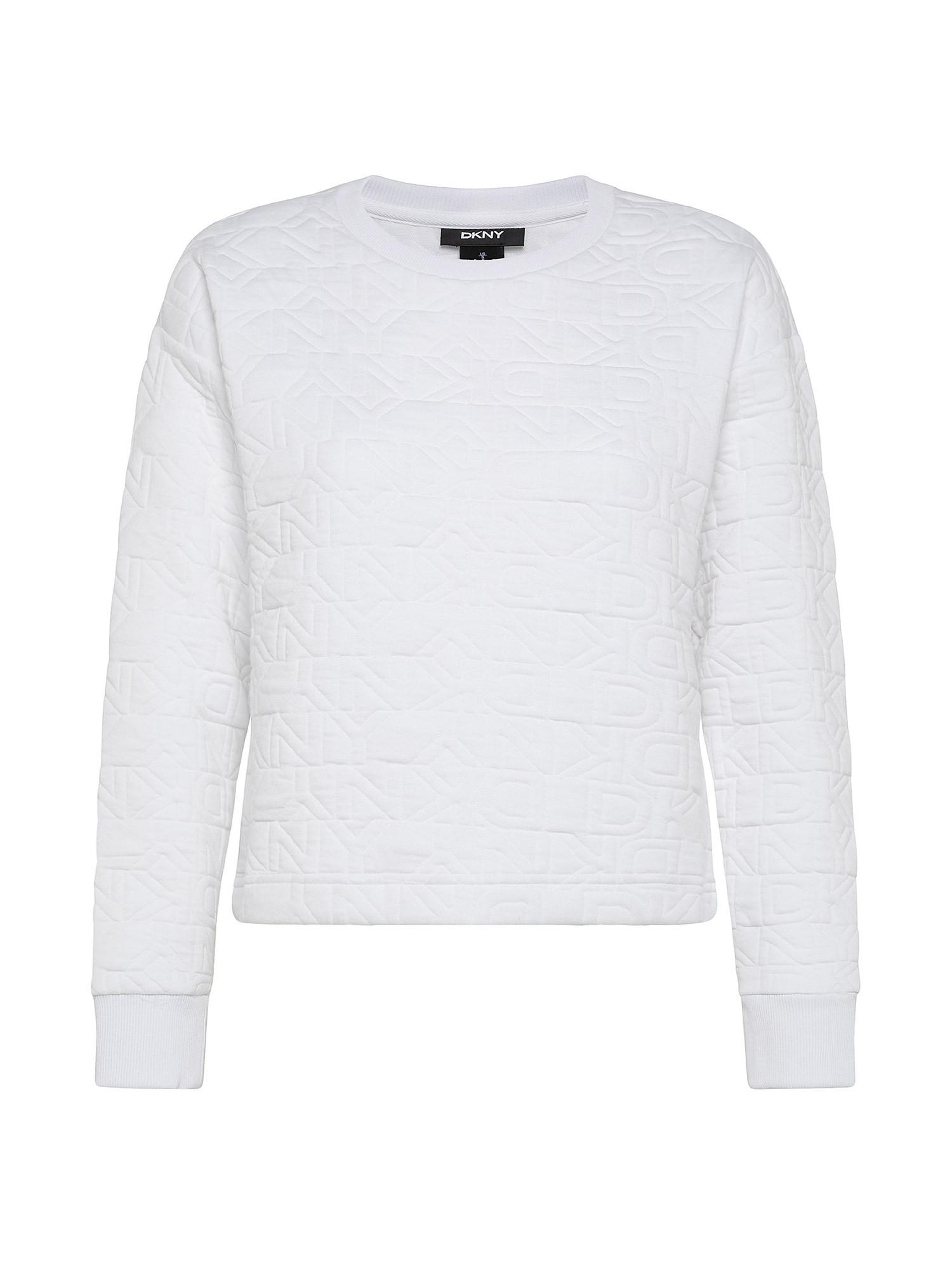 Felpa girocollo con logo ricamato, Bianco, large image number 0