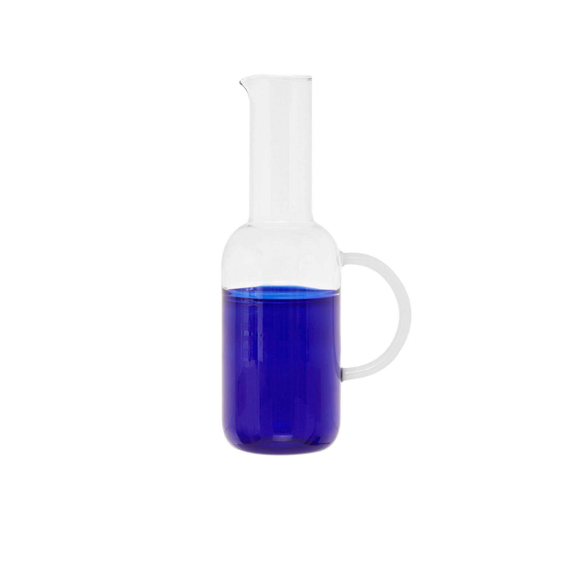 Caraffa vetro base colorata, Bianco/Blu, large image number 0