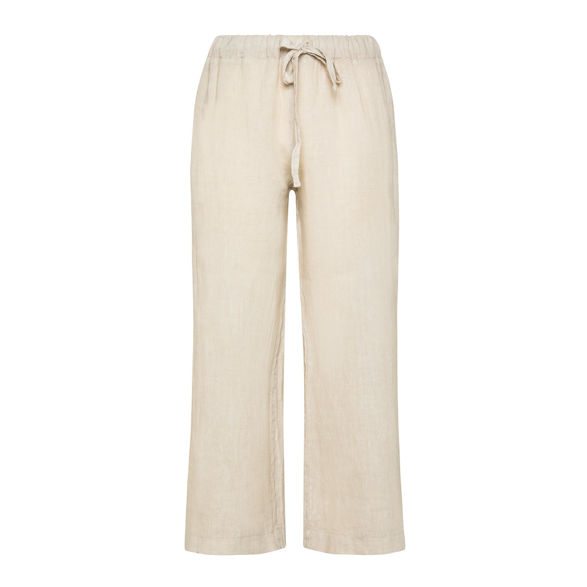 Pantalone ampio in puro lino tinta unita, Beige, large image number 0