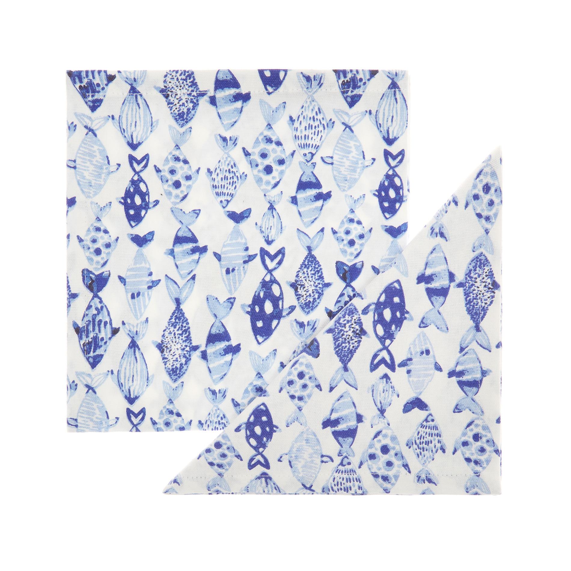 Set 2 tovaglioli puro cotone stampa pesci, Azzurro, large image number 0