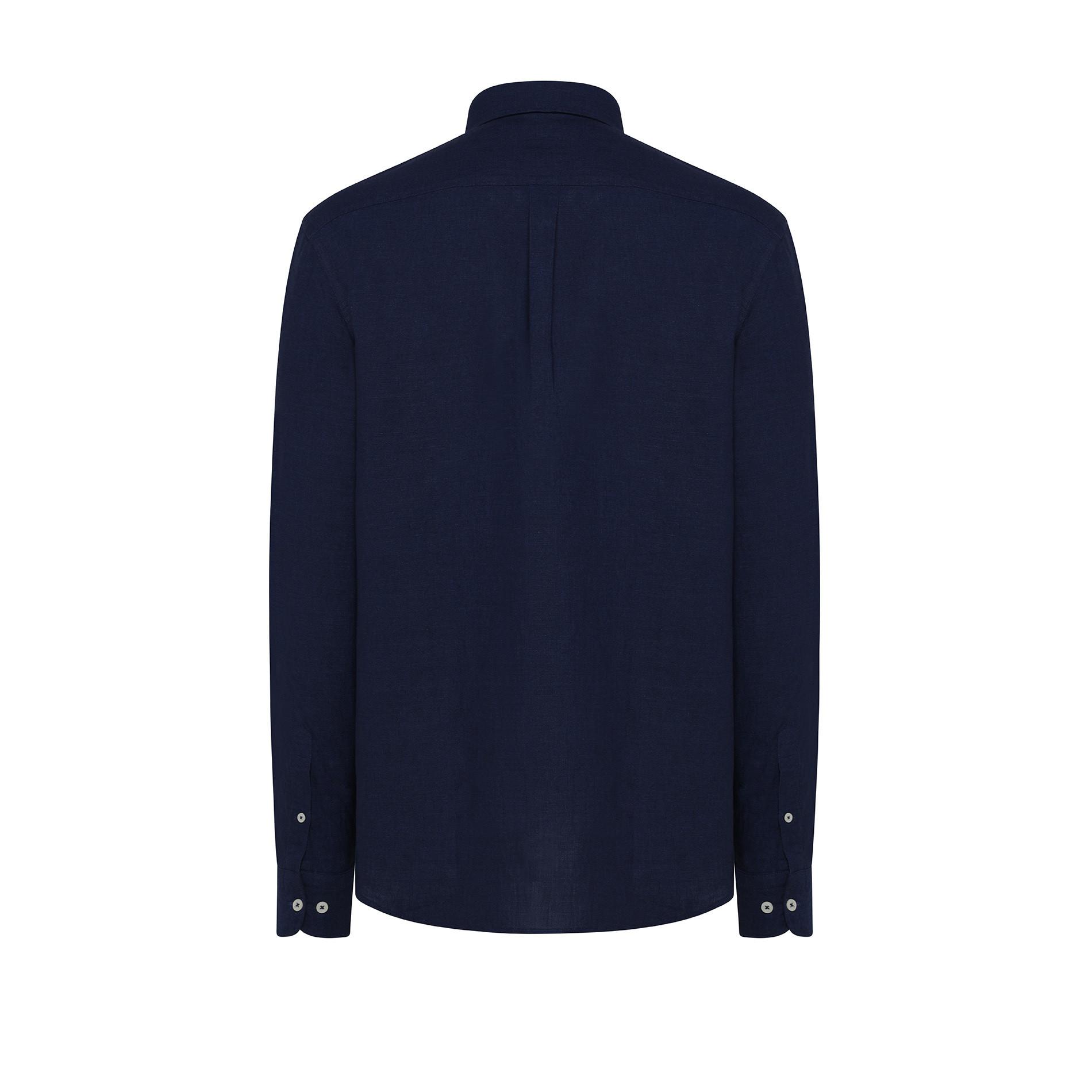 Camicia misto lino e cotone Luca D'Altieri, Blu scuro, large image number 1