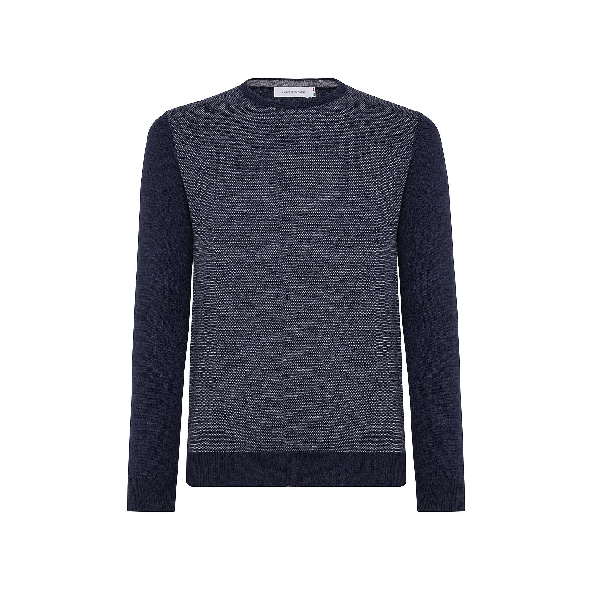 Pullover girocollo misto lana motivo piquet, Blu, large image number 0