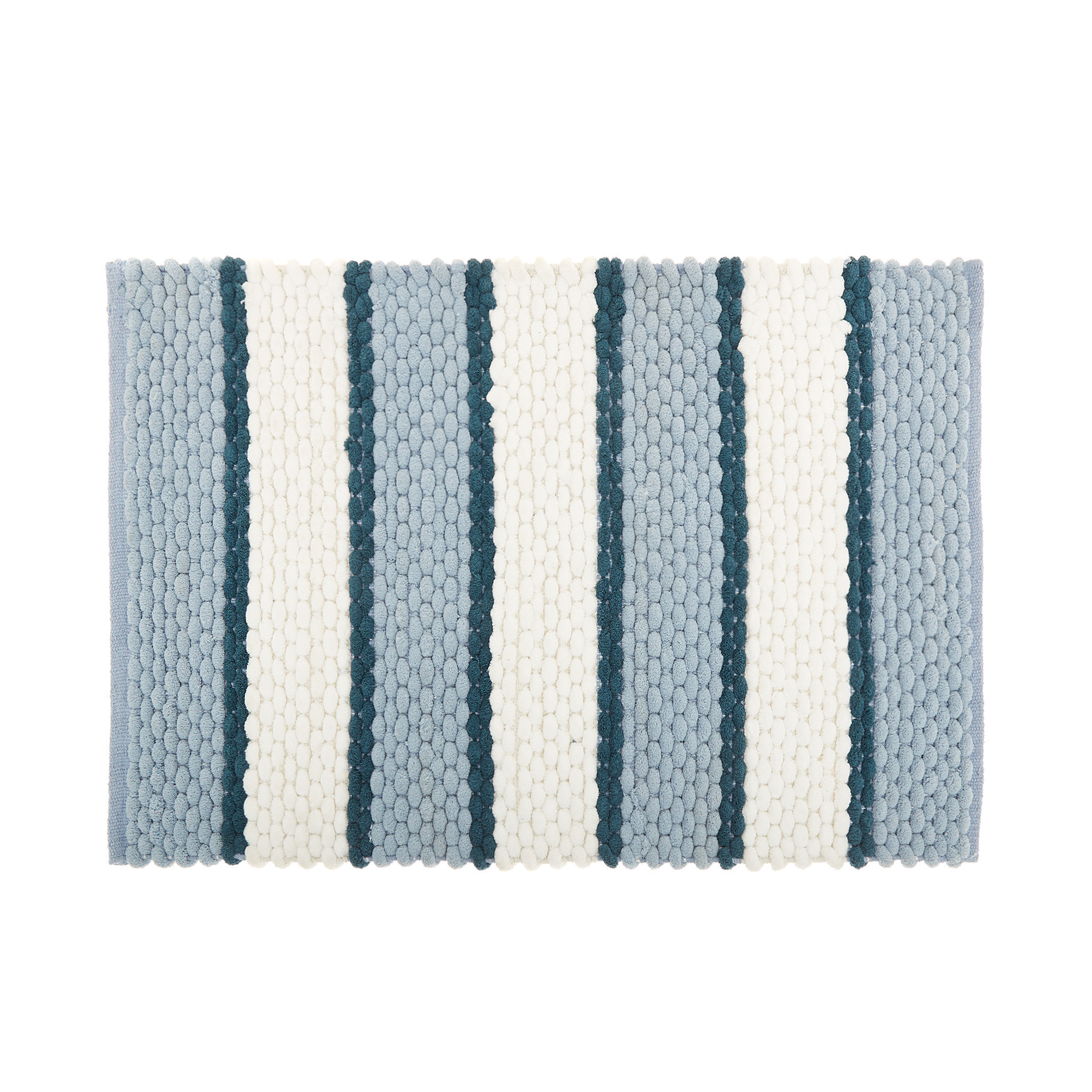 Tappeto bagno micro cotone a righe, Blu, large image number 0
