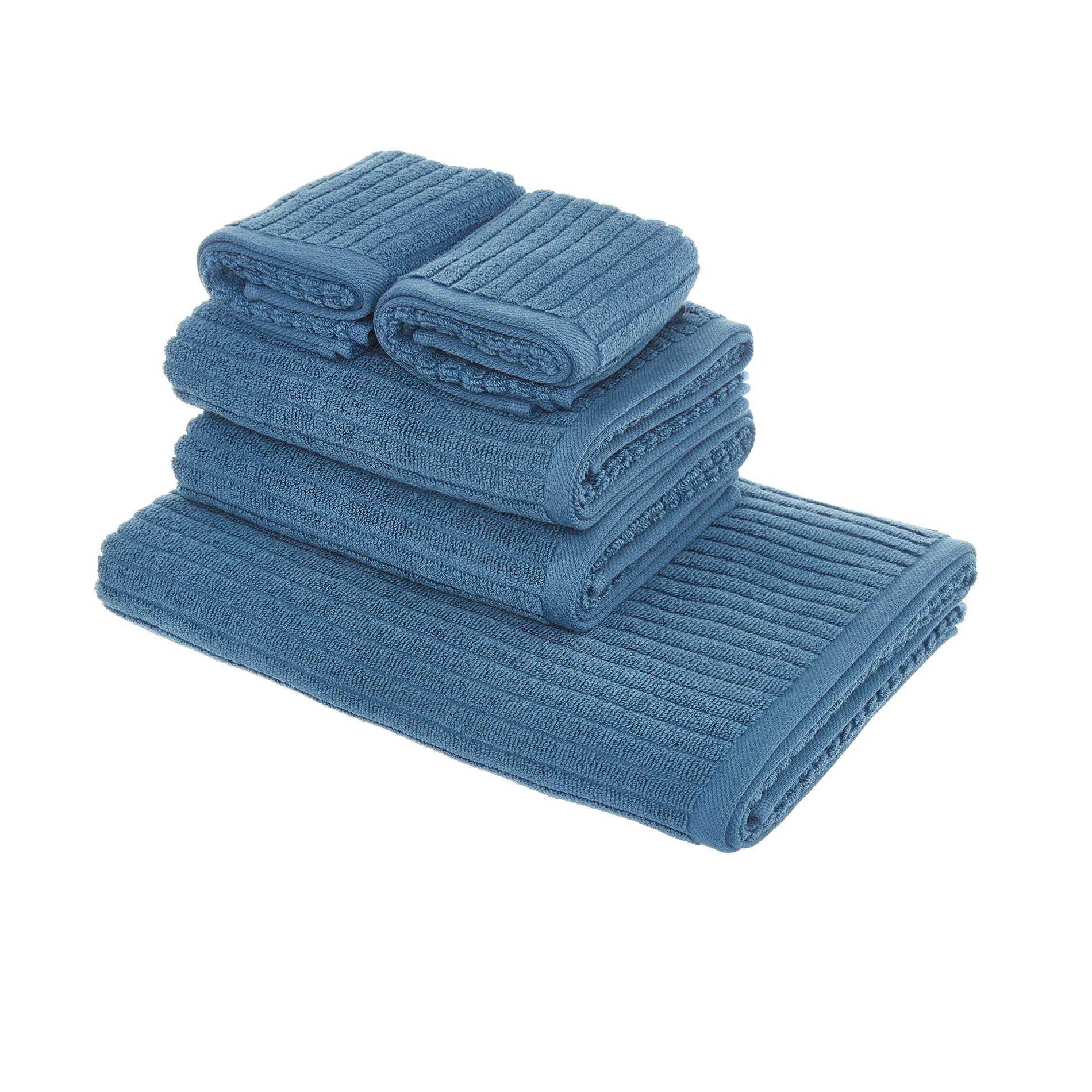 Set asciugamani puro cotone righe jacquard tinta unita, Blu, large image number 1