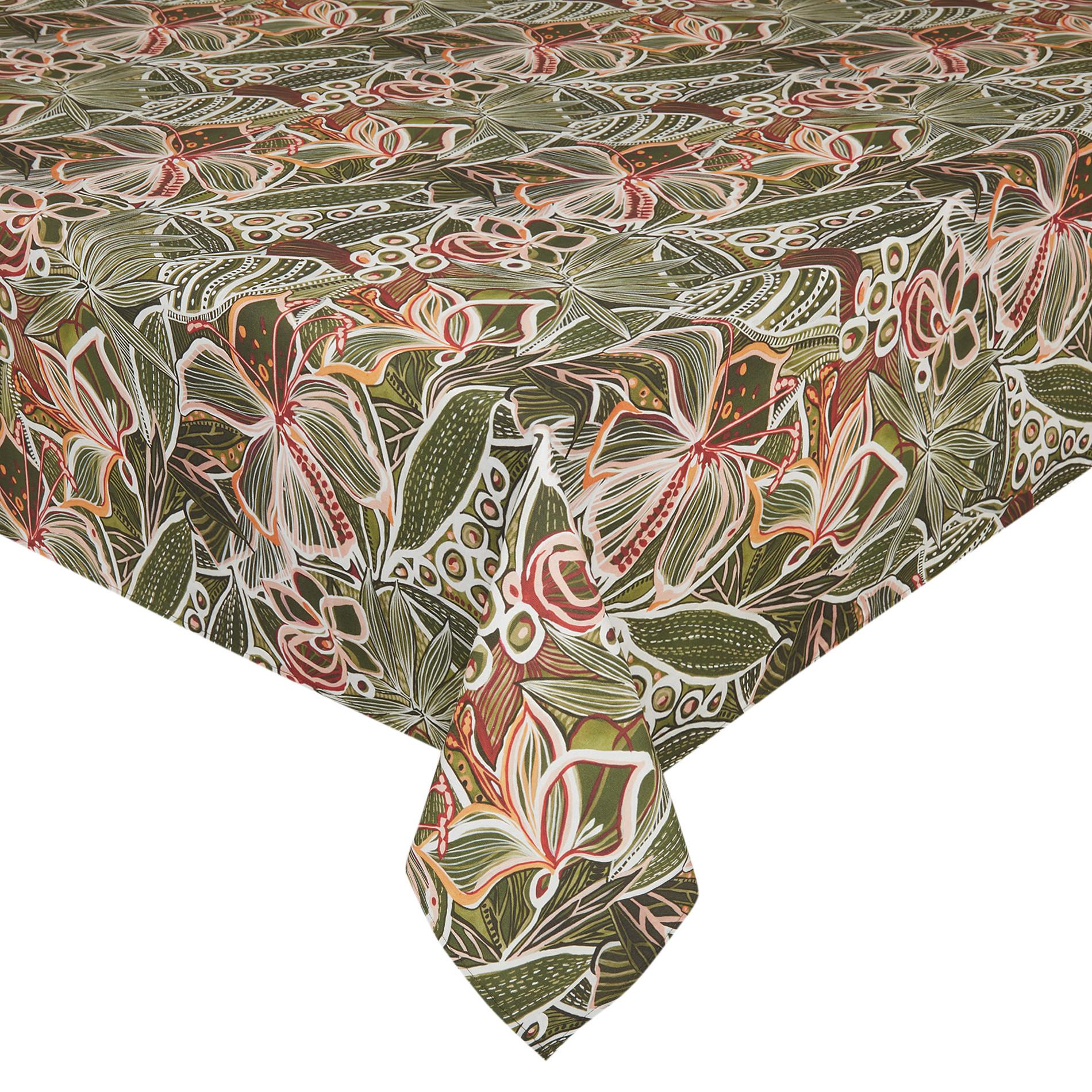 Tovaglia puro cotone stampa amazzonia, Verde scuro, large image number 0