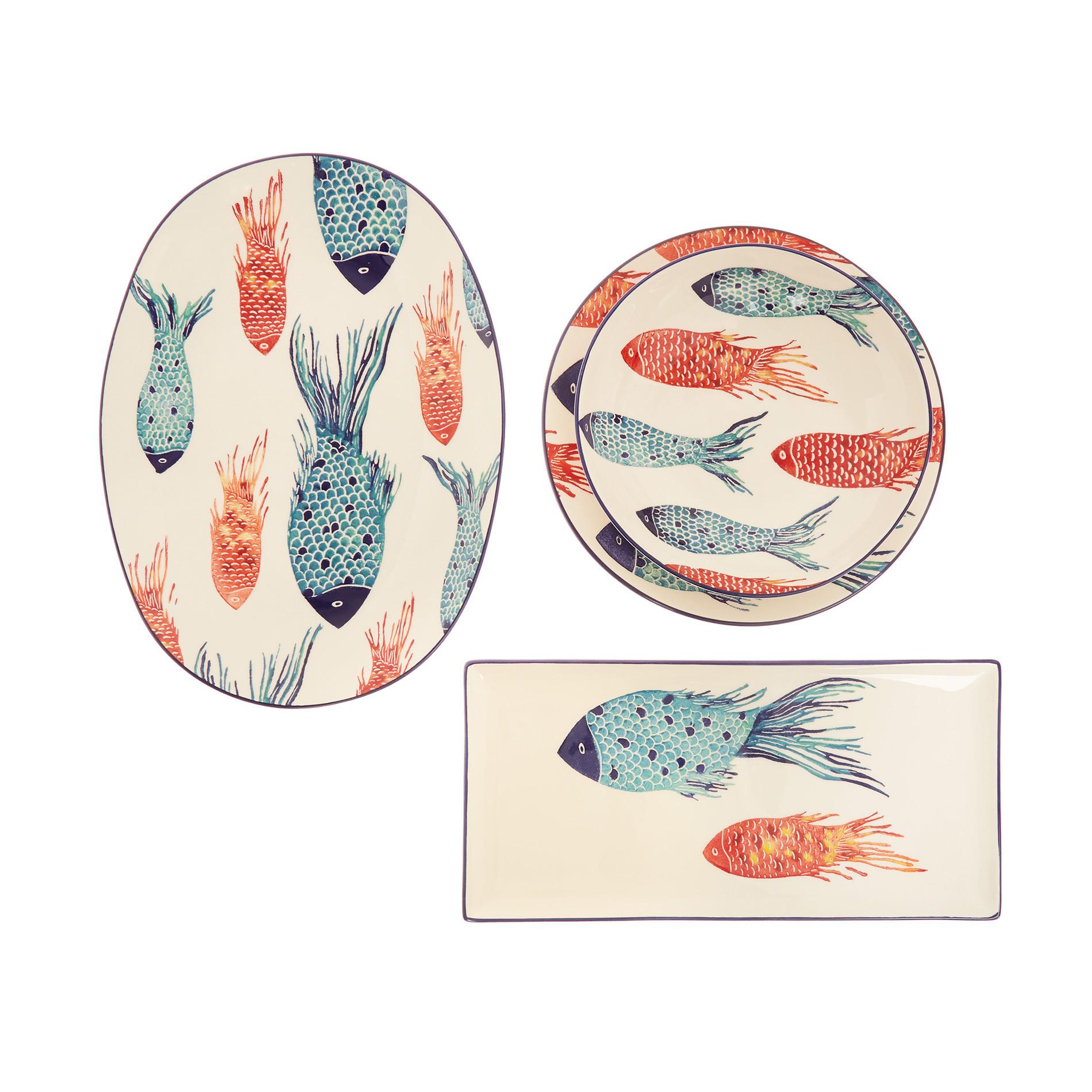 Piatto fondo ceramica decoro pesci, Bianco/Multicolor, large image number 2
