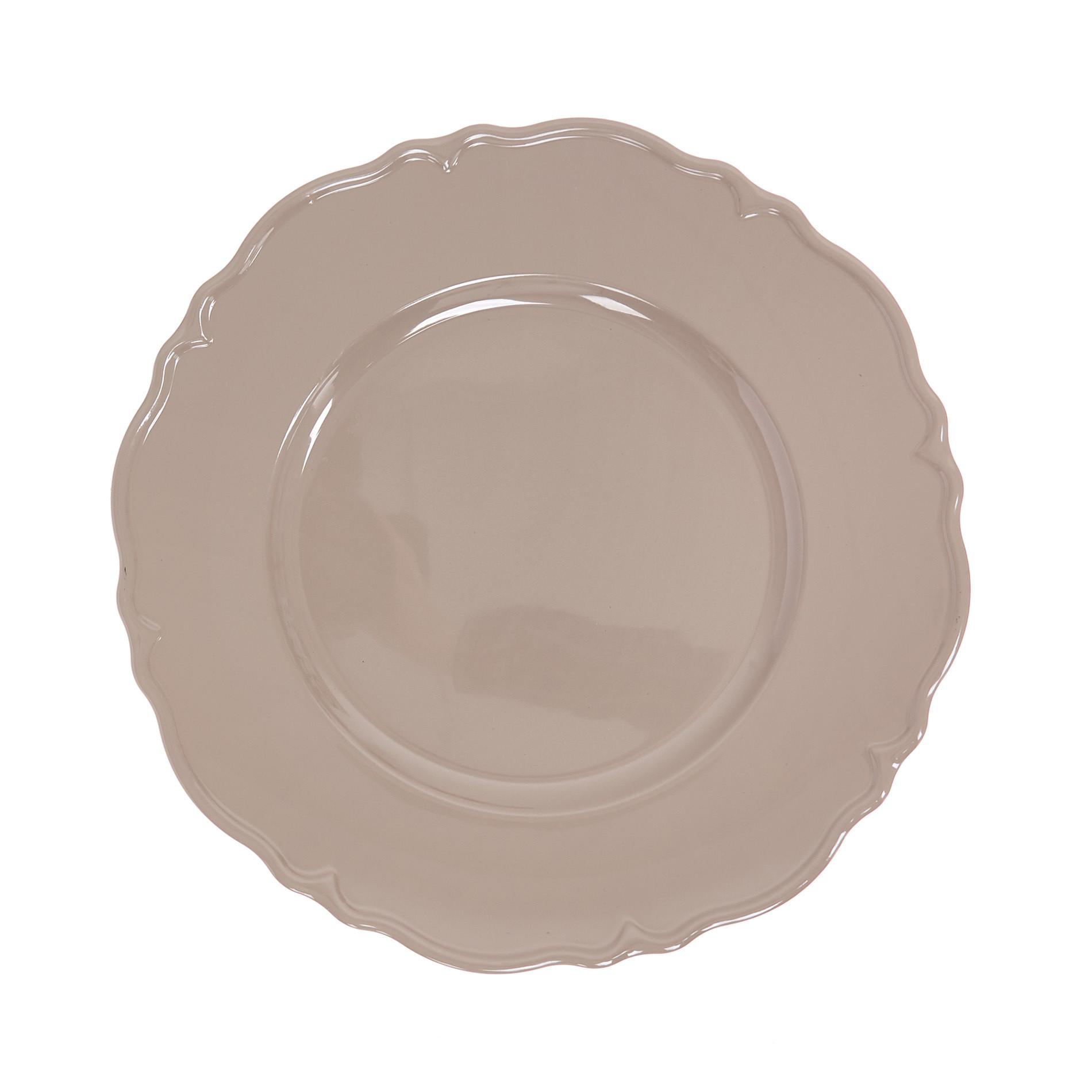 Sottopiatto in plastica bordo mosso, Marrone nocciola, large image number 0