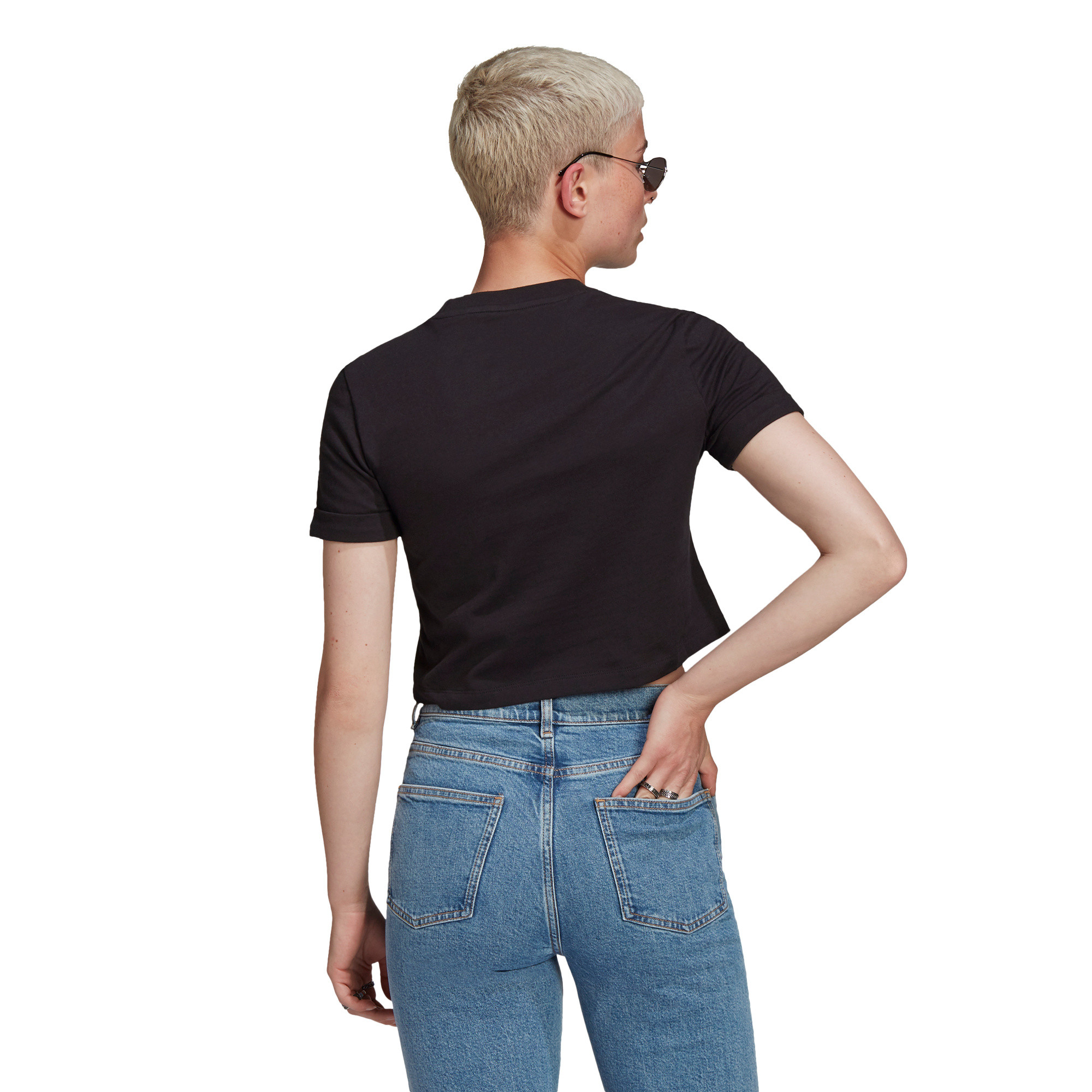T-shirt adicolor Classics Roll-Up Sleeve Crop, Nero, large image number 1