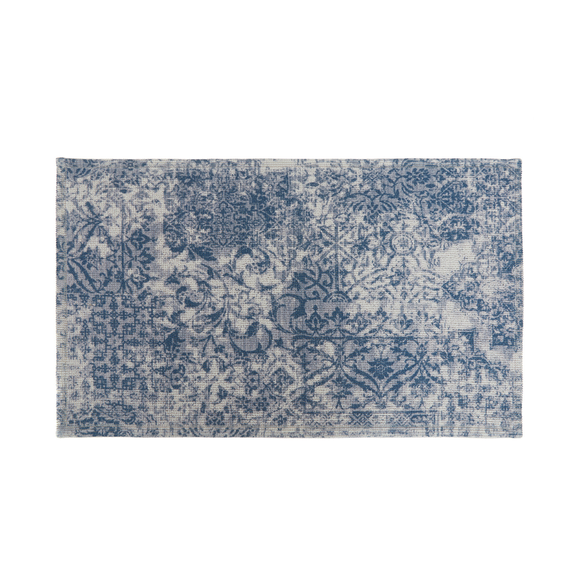 Tappeto bagno misto cotone effetto kilim, Blu, large image number 0