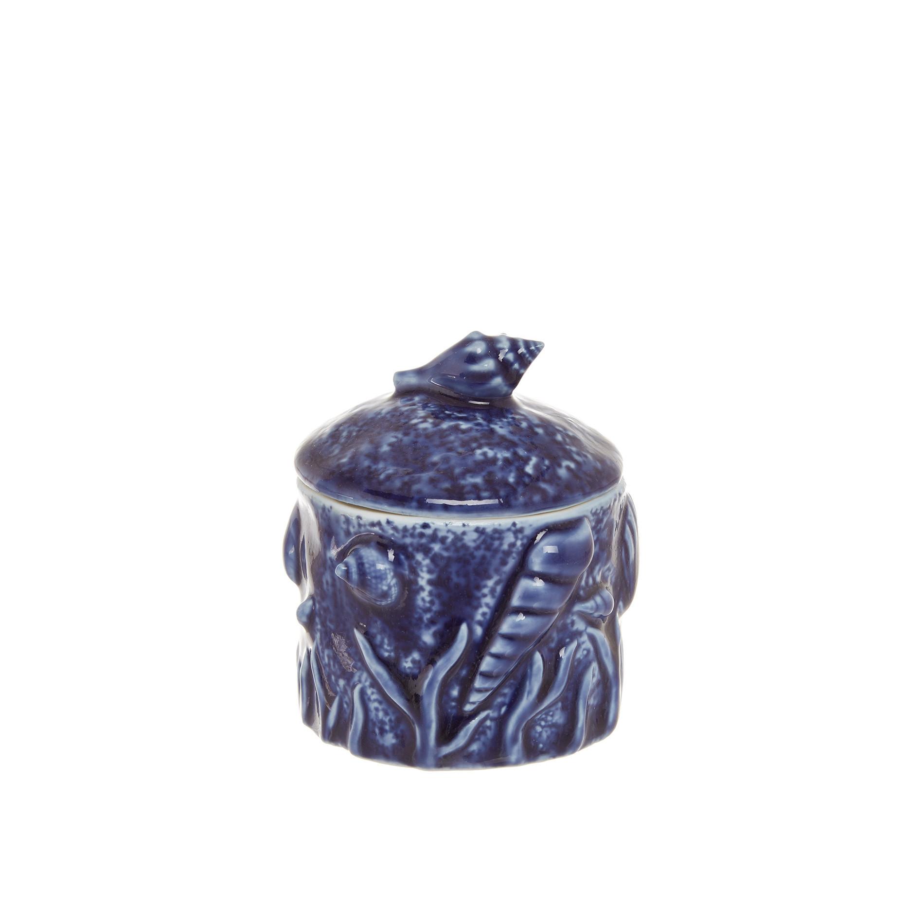 Barattolo porcellana decoro marino, Blu, large image number 0