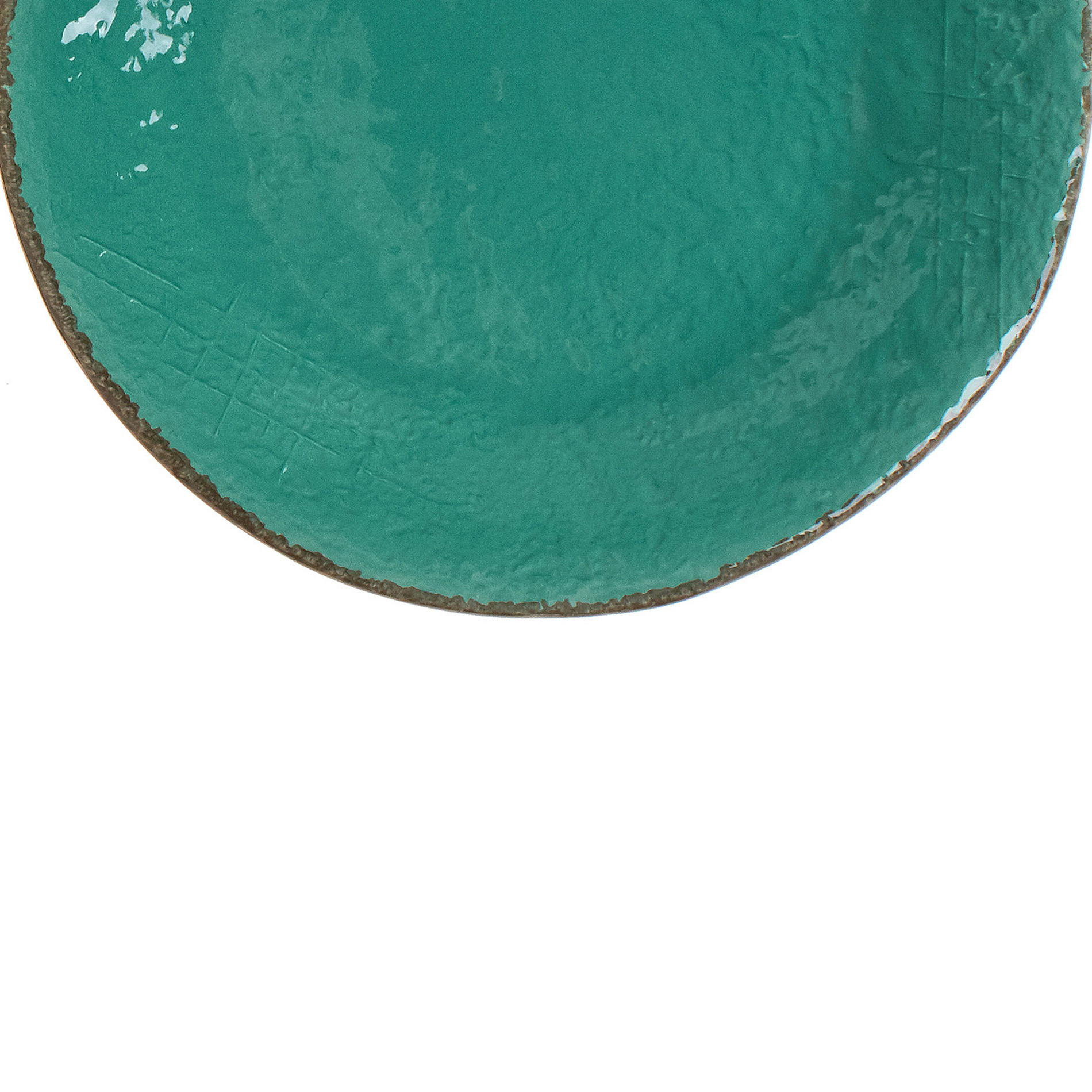 Piatto frutta ceramica artigianale Preta, Verde acqua, large image number 2