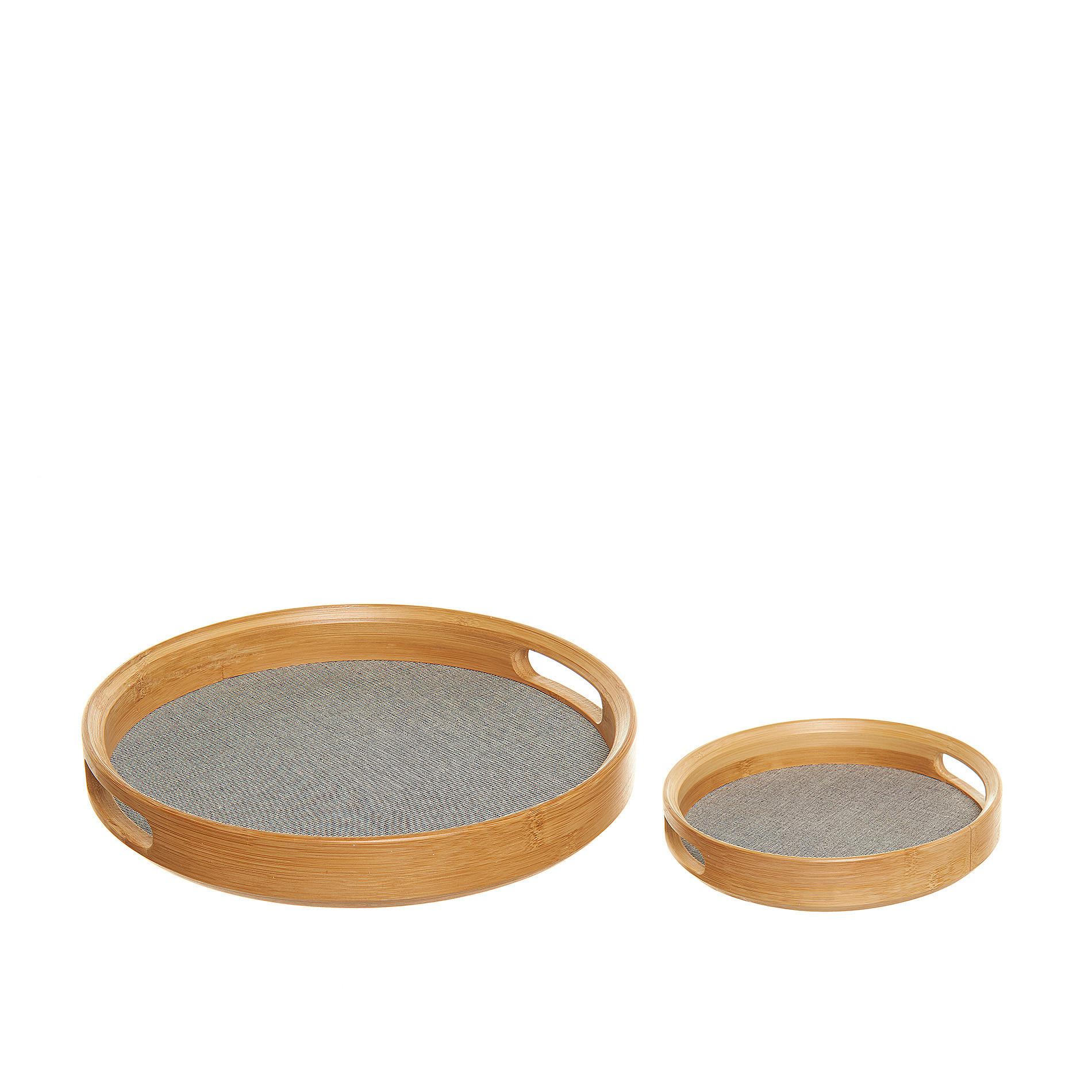 Vassoio rotondo in bamboo e cotone, Grigio, large image number 1