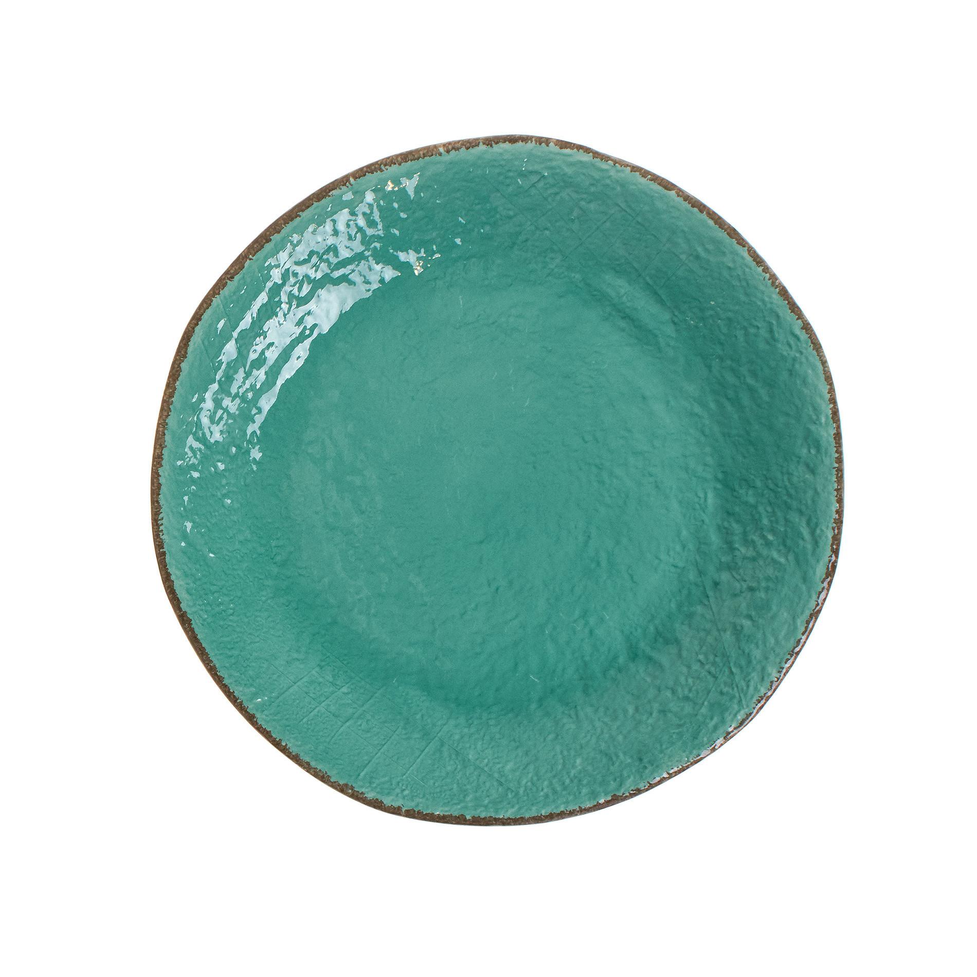 Piatto piano ceramica artigianale Preta, Verde acqua, large image number 0