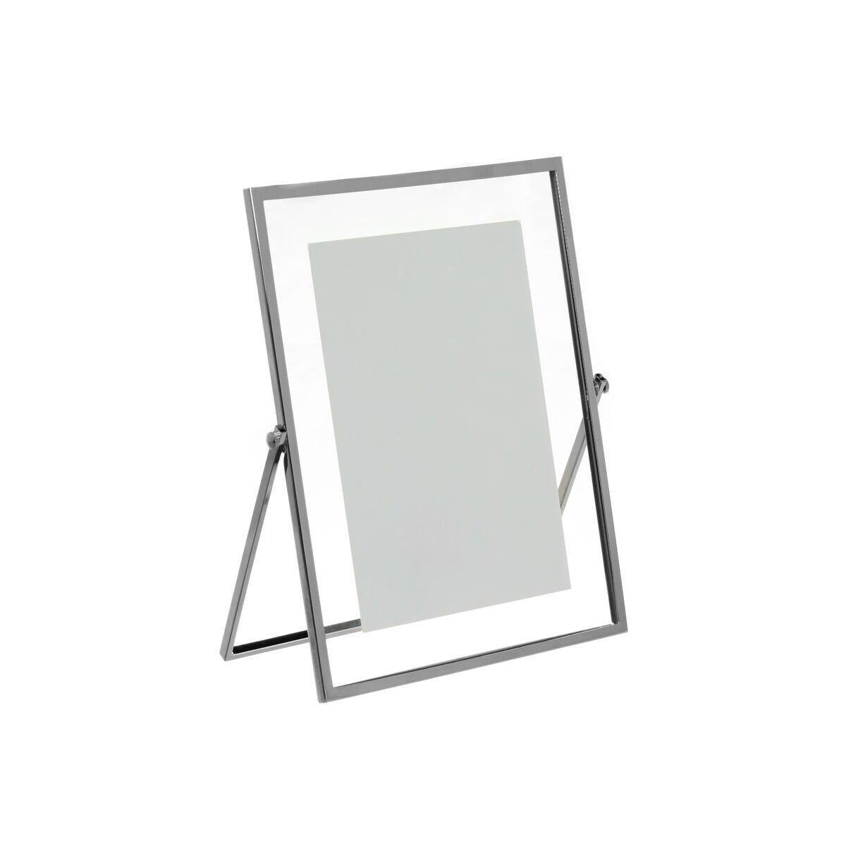 Portafoto a cavalletto in metallo silver plated, Grigio argento, large image number 0