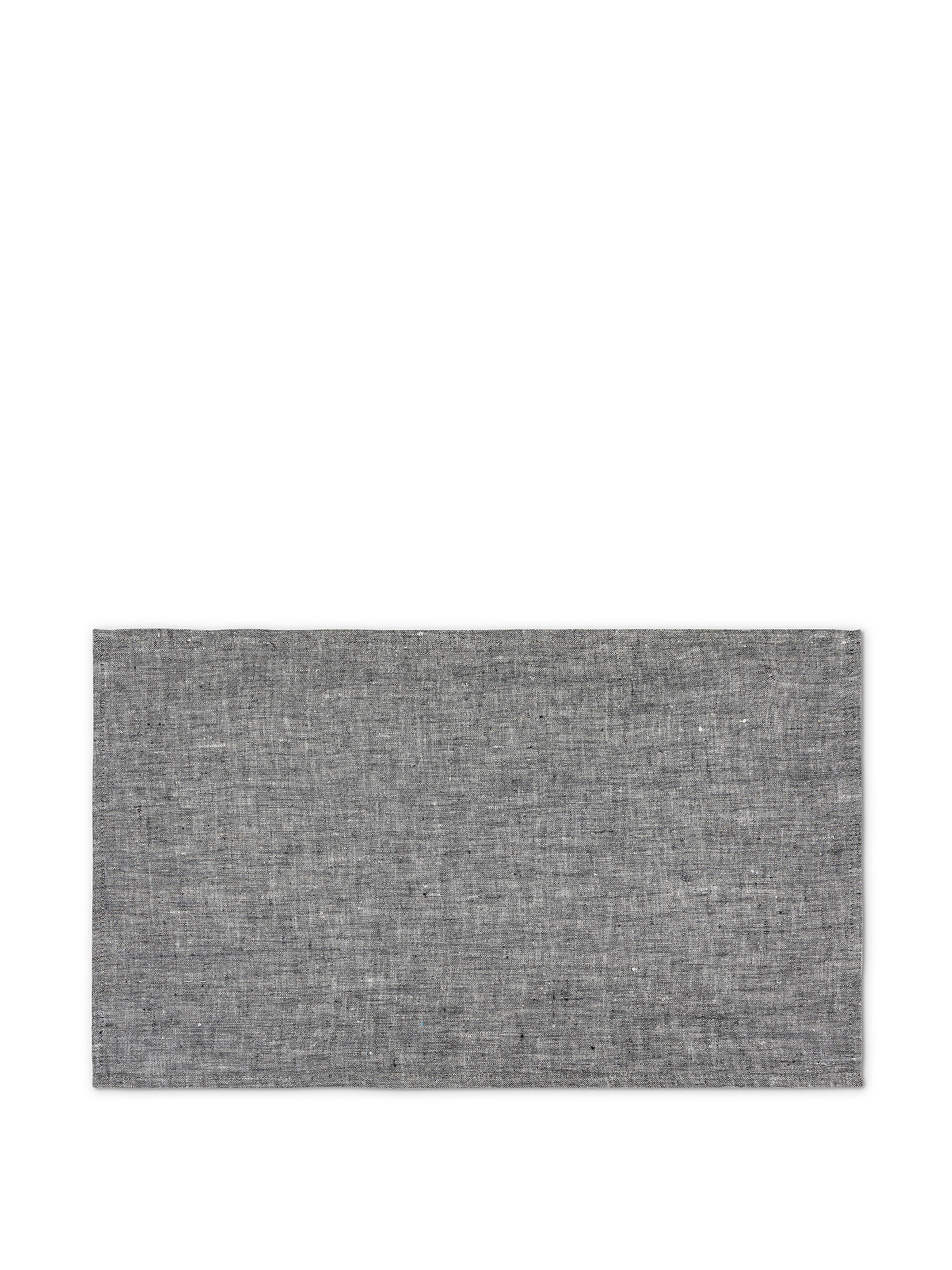 Tovaglietta lino lavato tinta unita, Grigio, large image number 0