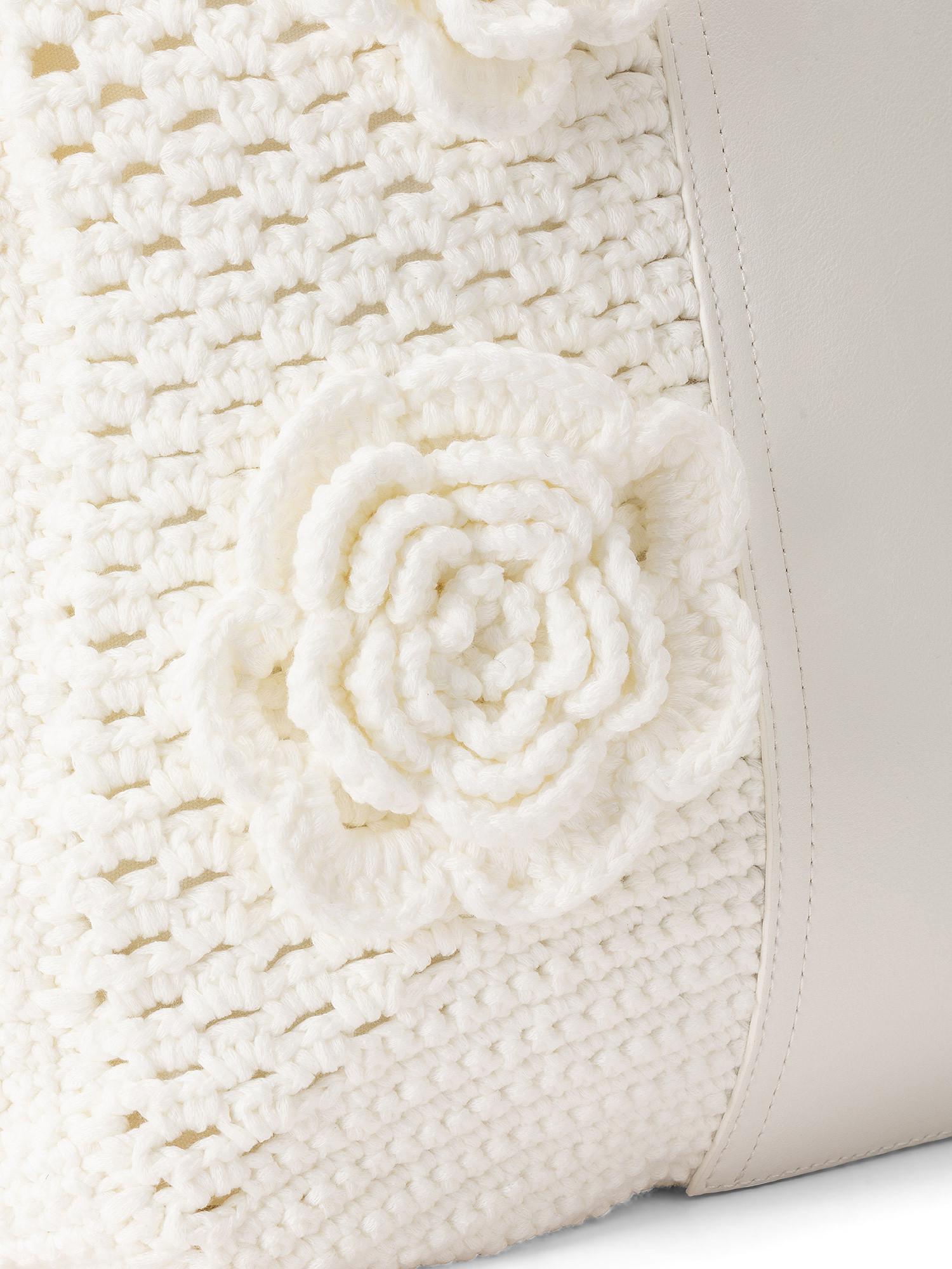 Shopper Crochet con applicazioni, Bianco, large image number 2
