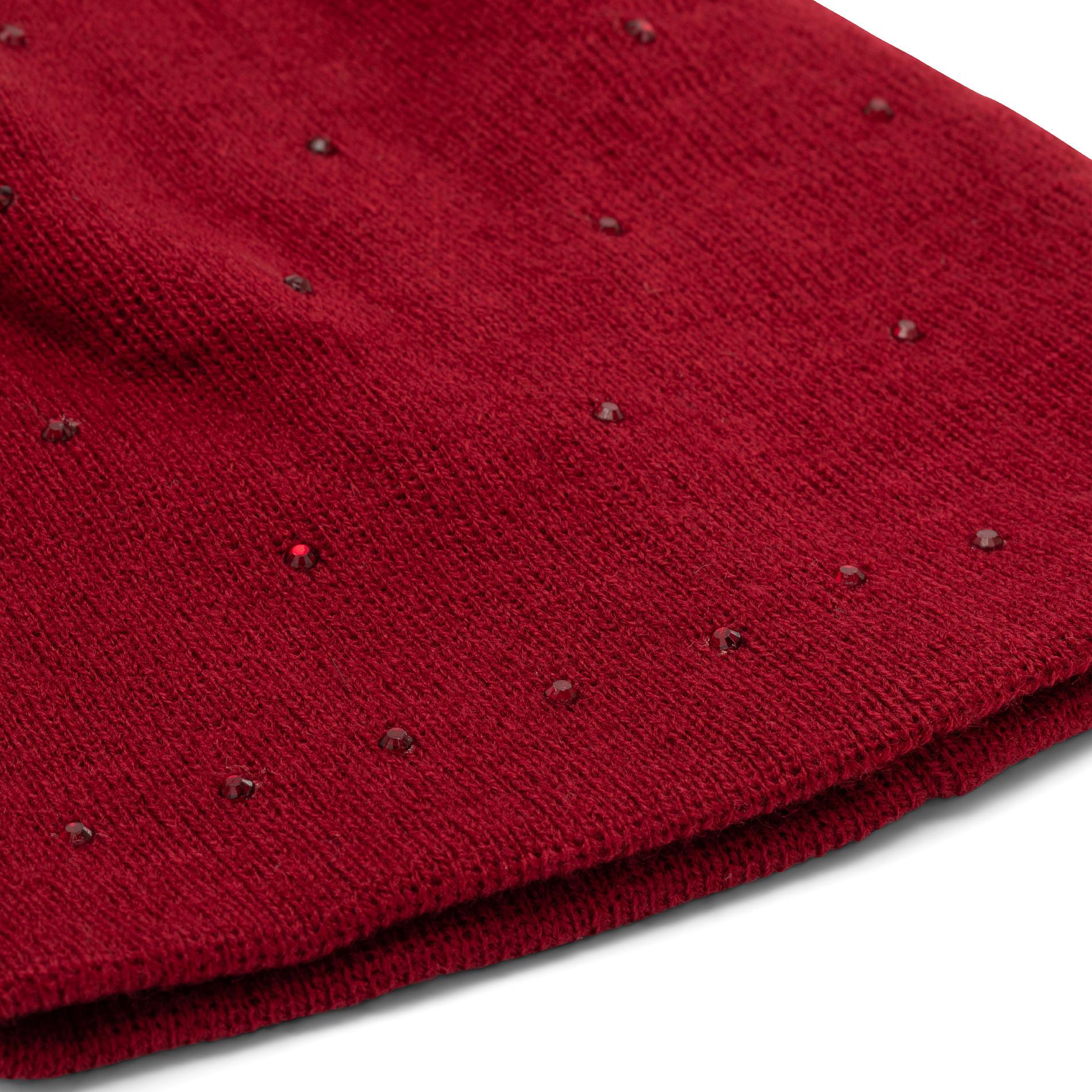 Berretto con strass Koan, Rosso scuro, large image number 1