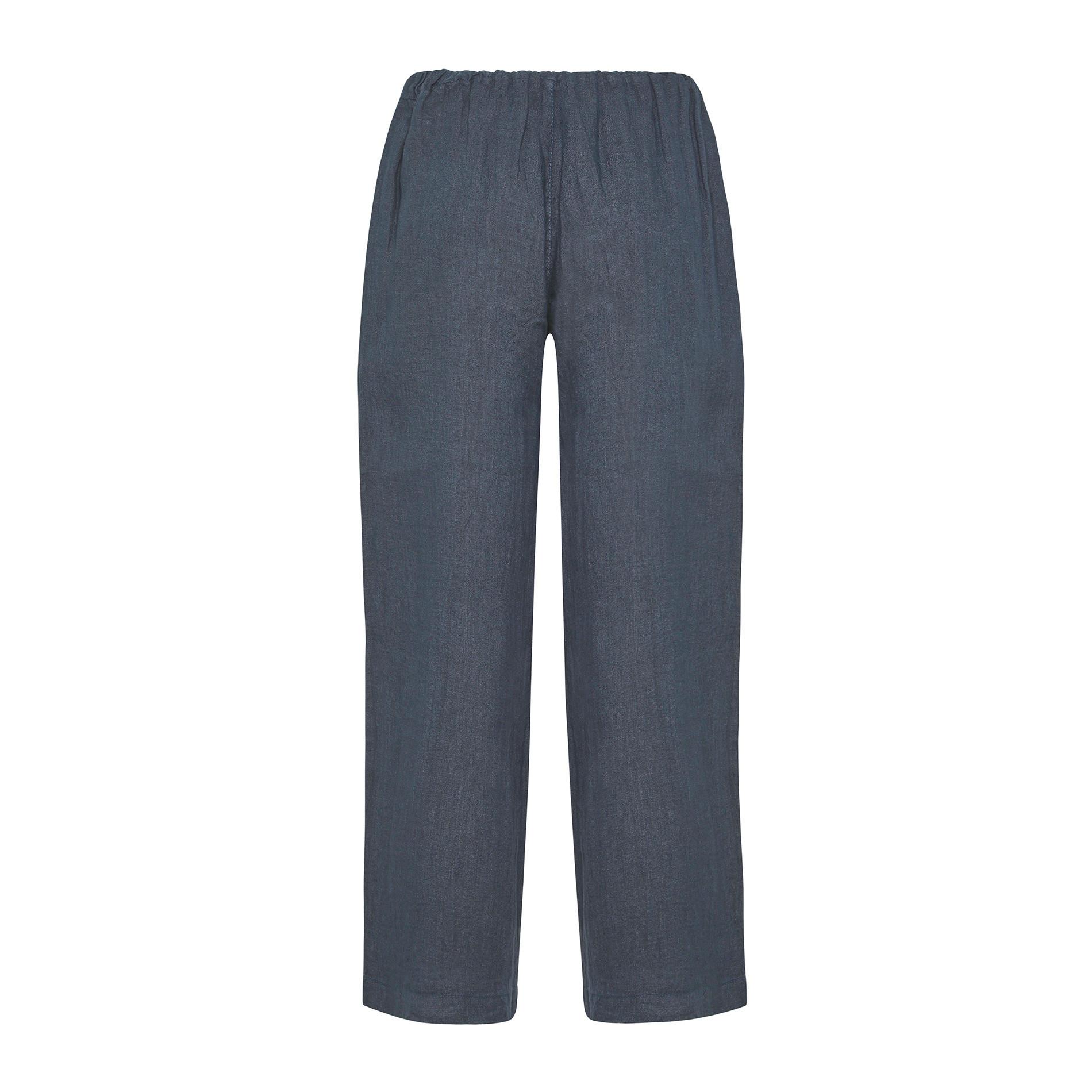 Pantalone ampio in puro lino tinta unita, Blu, large image number 1
