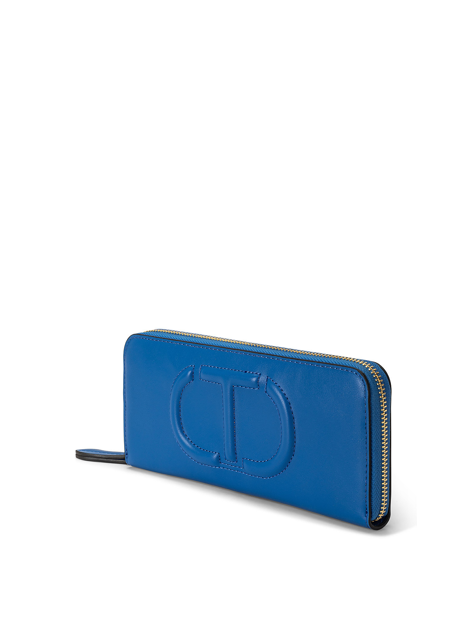 Portafoglio zip around grande t trapuntata, Blu, large image number 1