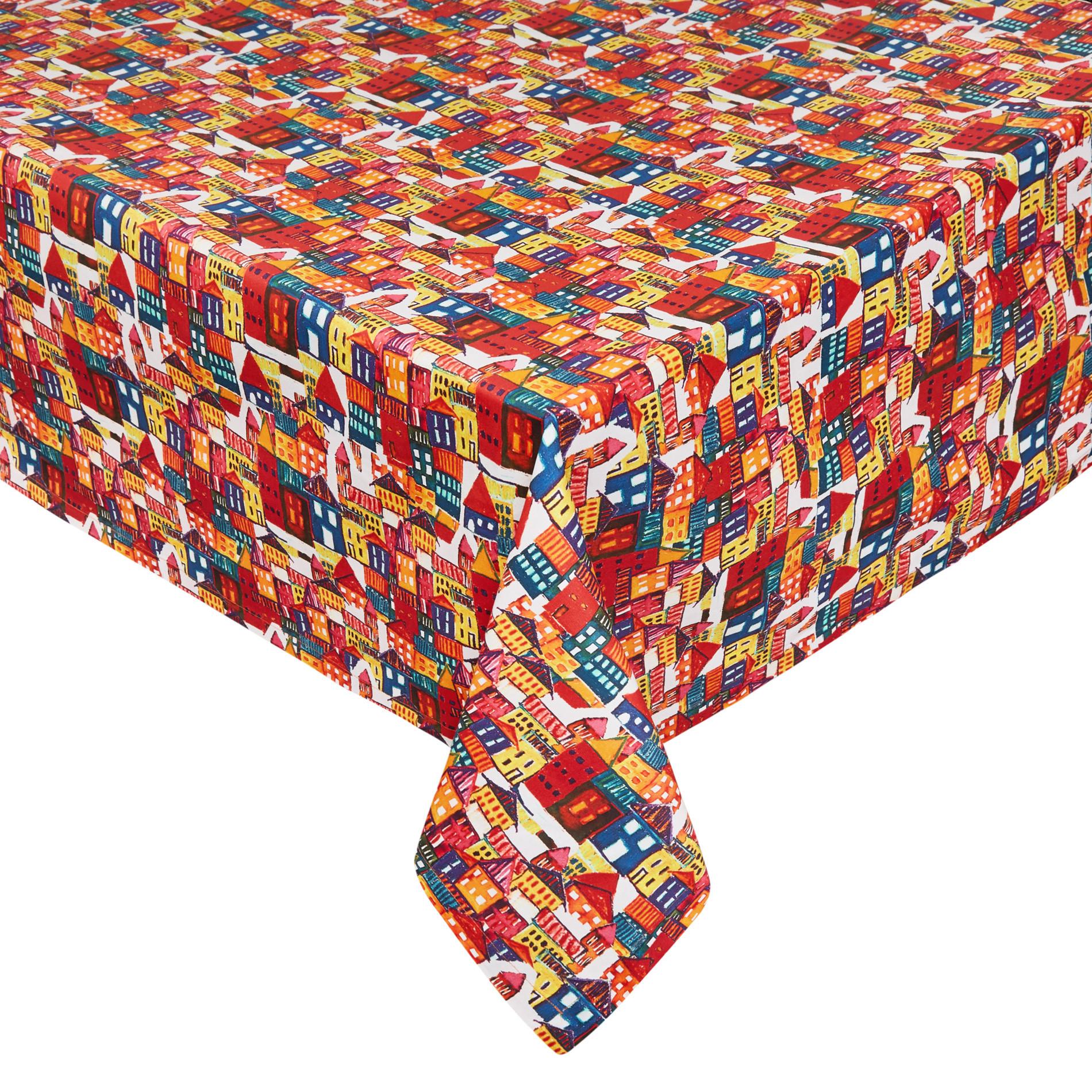 Tovaglia twill di cotone stampa casette, Multicolor, large image number 0