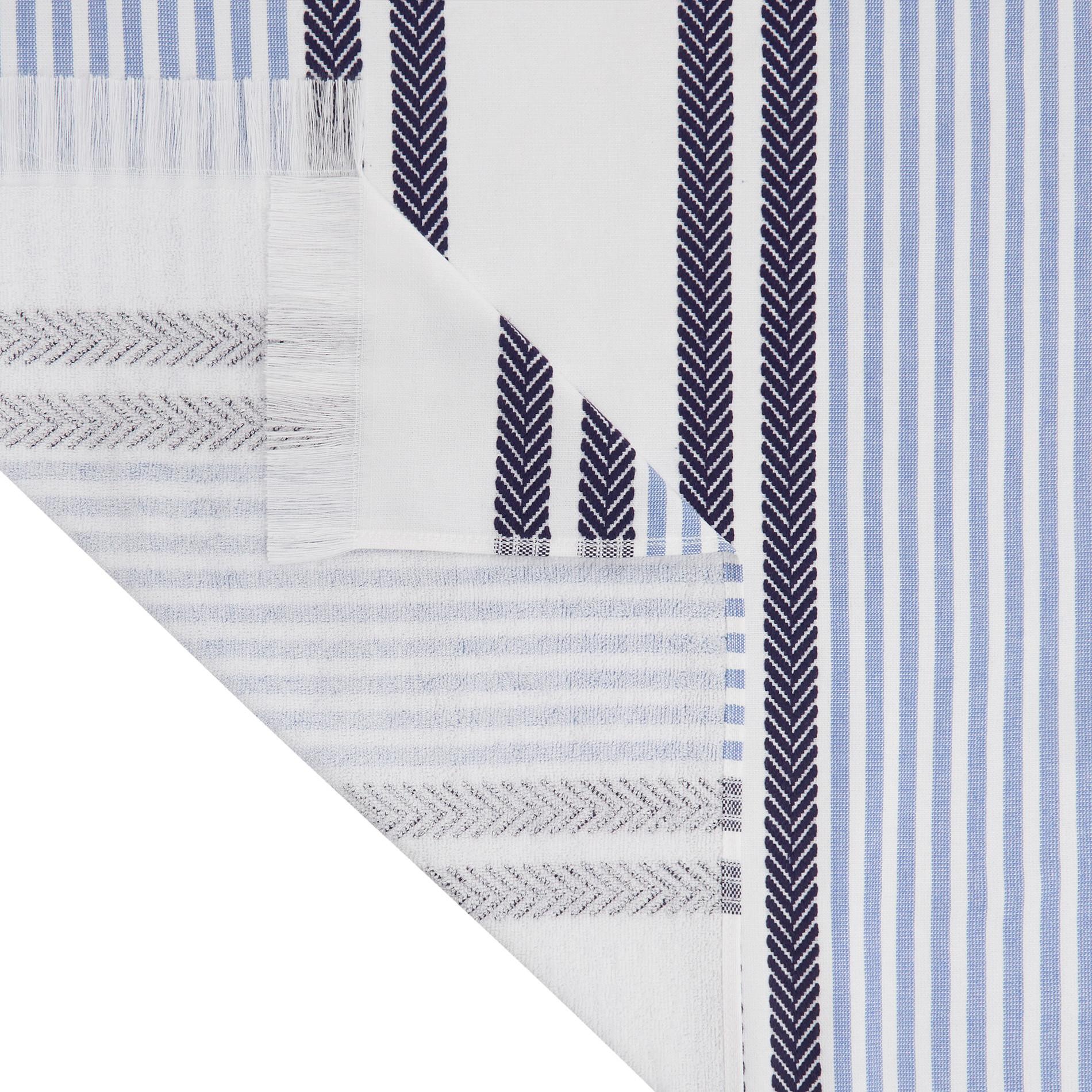 Telo mare hammam cotone jacquard tinto filo a righe, Azzurro, large image number 1