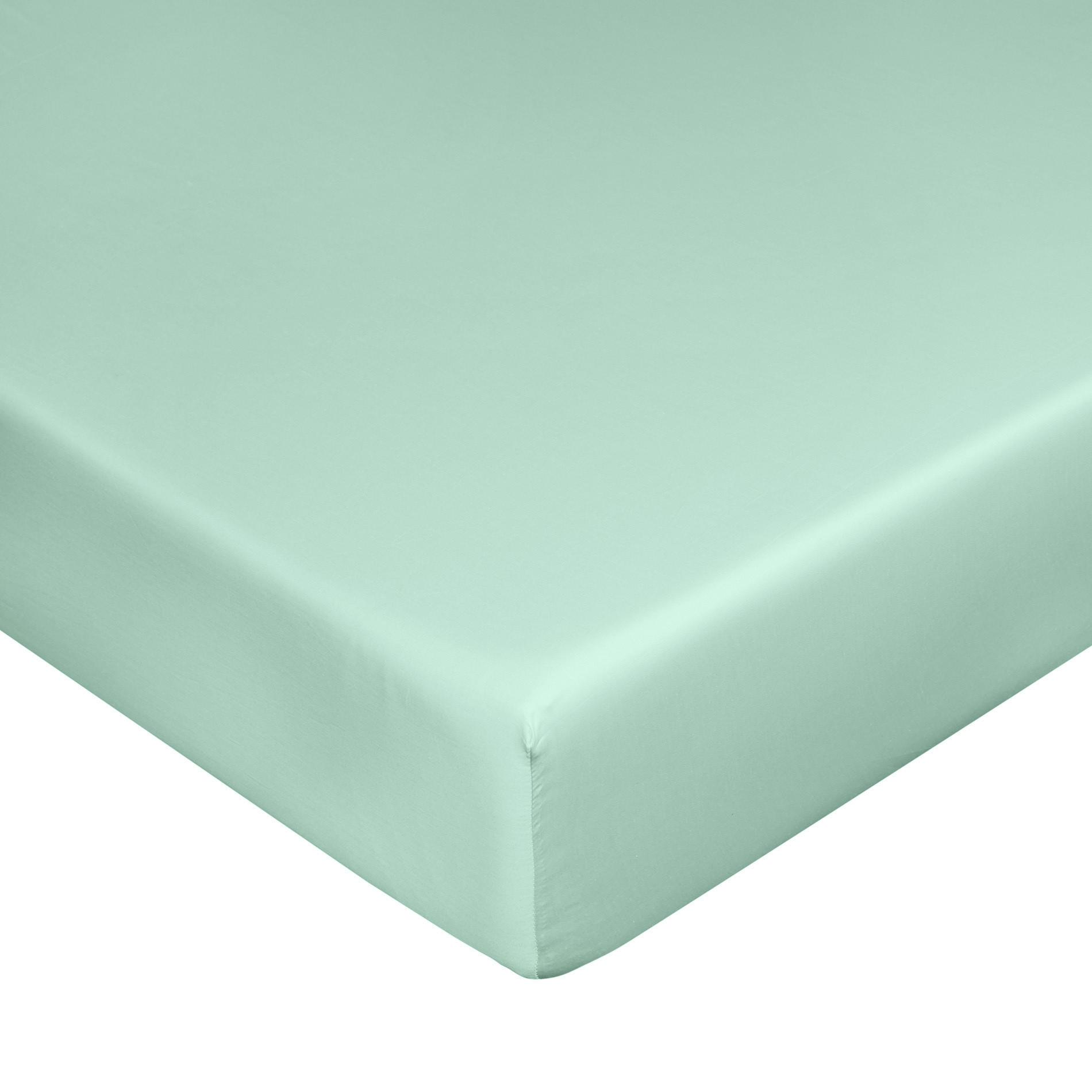 Lenzuolo con angoli raso di puro cotone Zefiro, Verde acqua, large image number 0