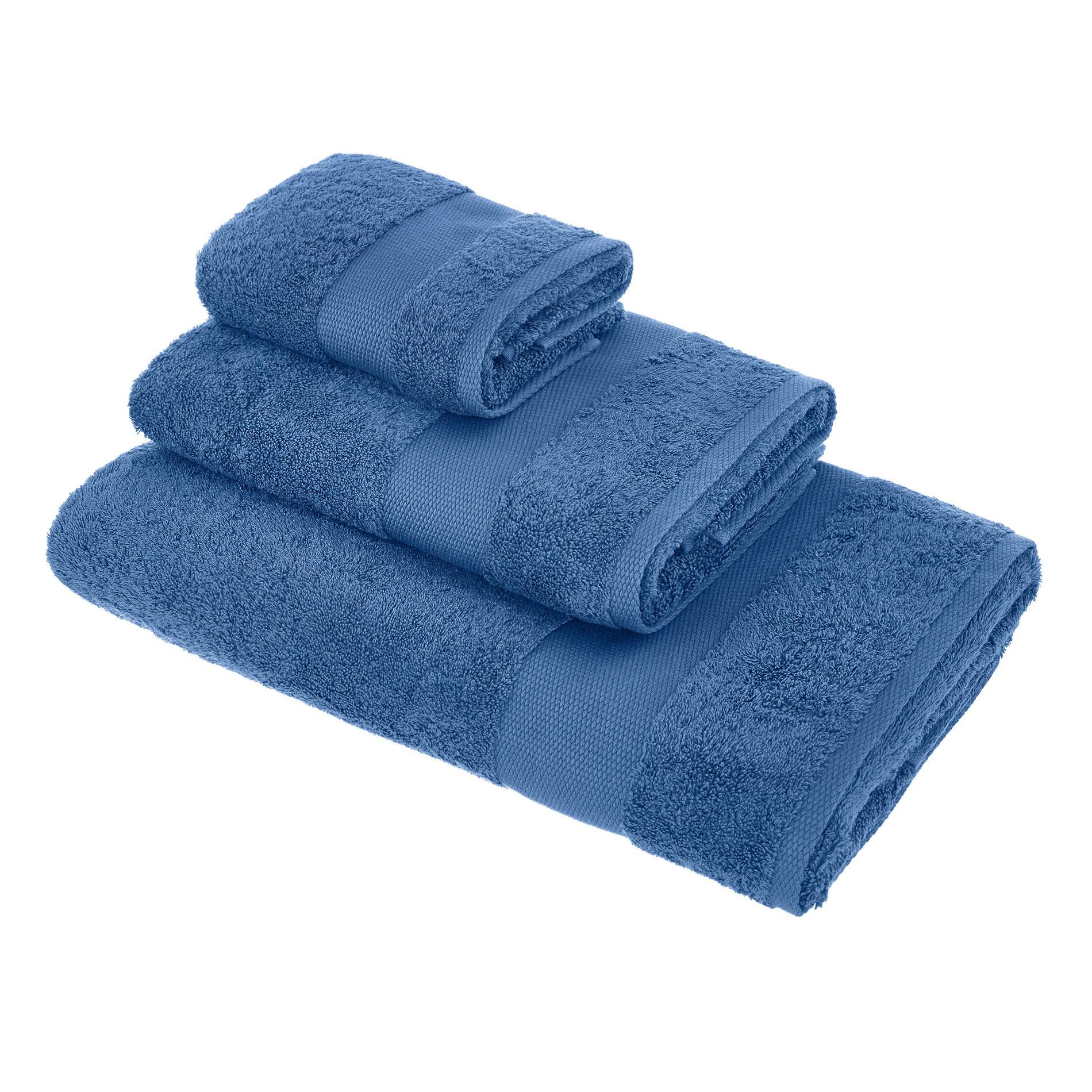 Asciugamano spugna di puro cotone Zefiro, Blu bluette, large image number 0
