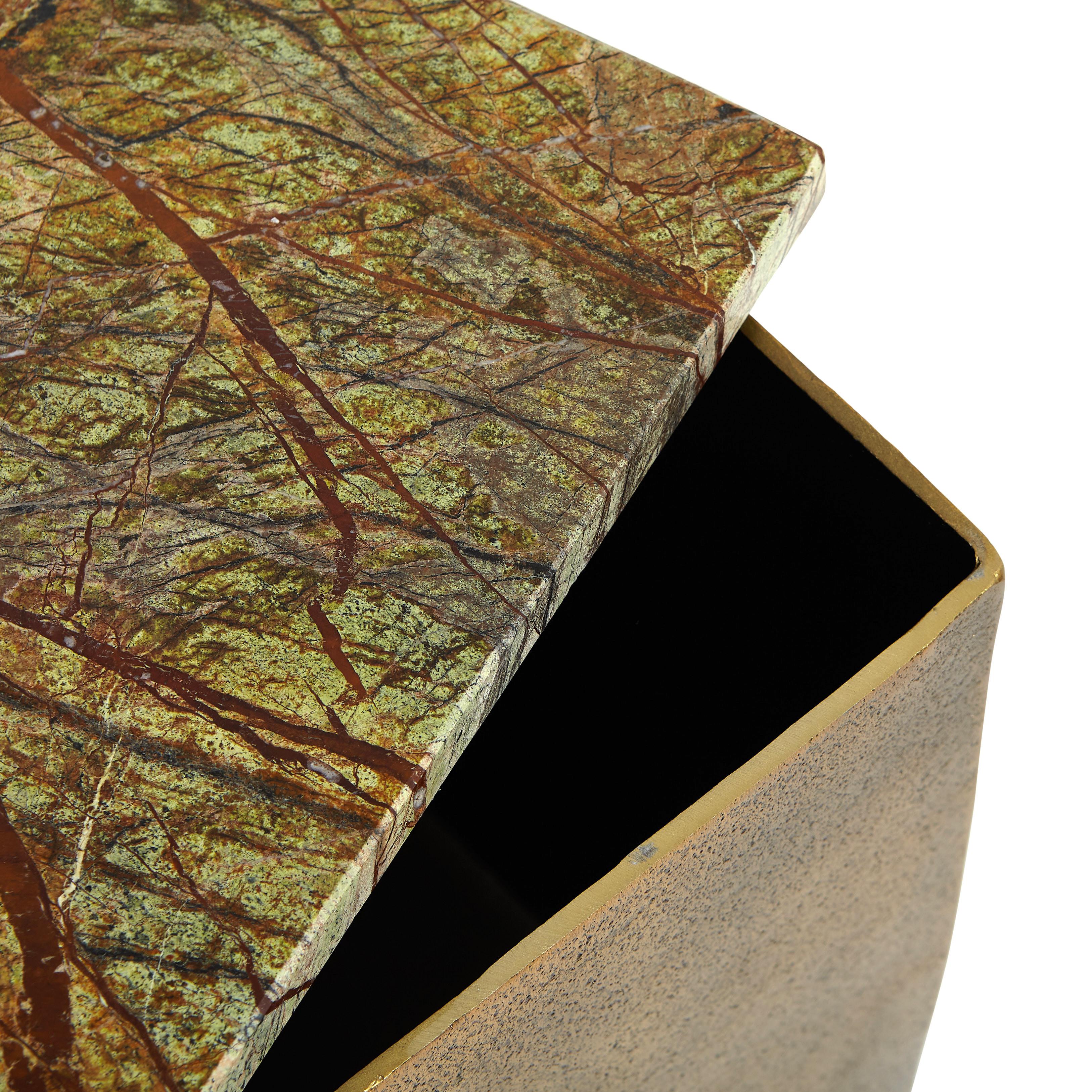 Tavolino alluminio e marmo Drum, Marrone bronzo, large image number 1