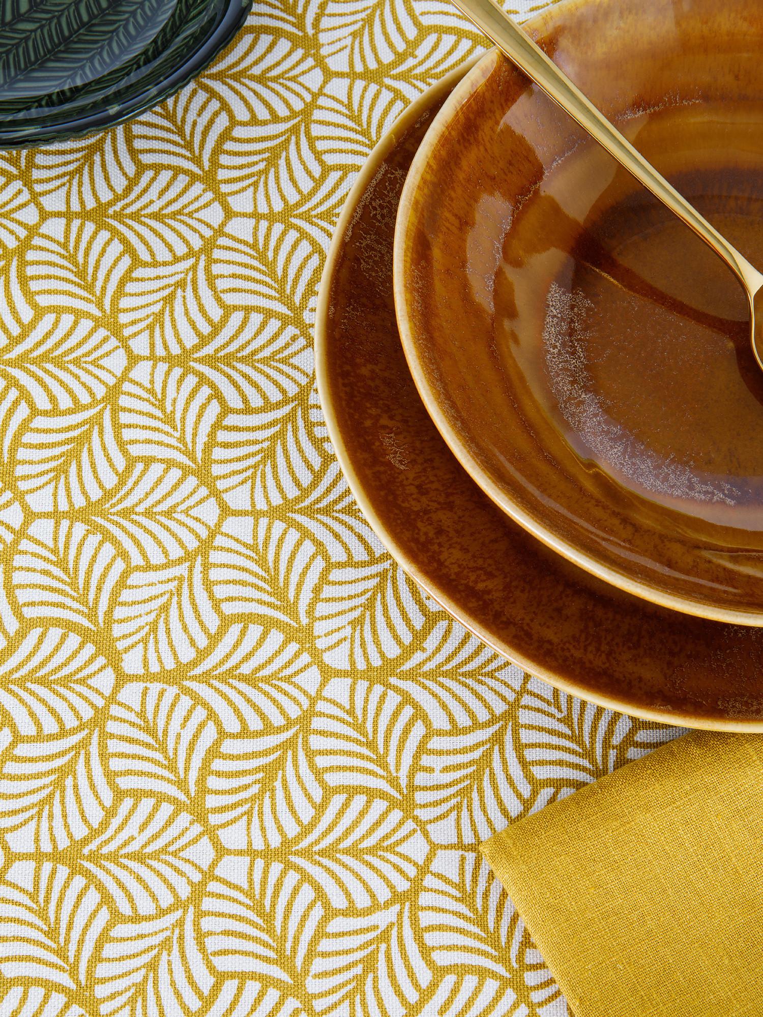 Tovaglia puro cotone stampa foglie, Giallo, large image number 1