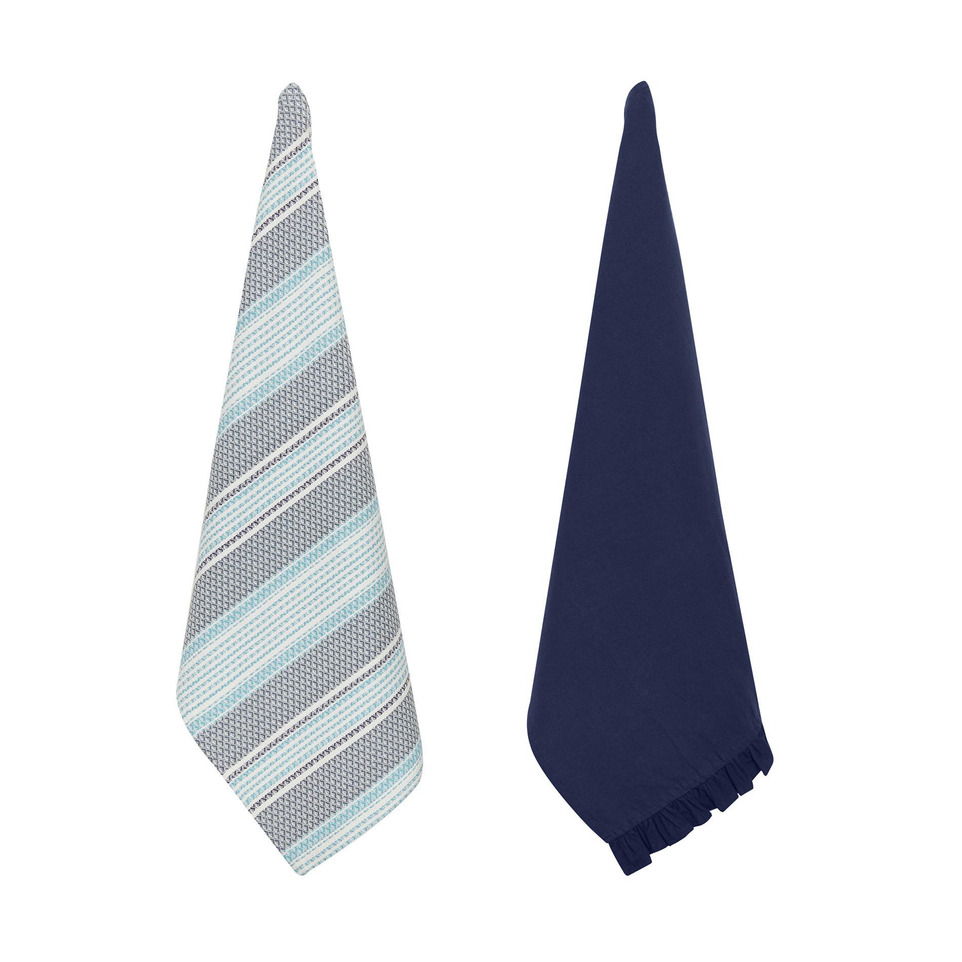 Set 2 strofinacci puro cotone garment washed con volant, Blu scuro, large image number 0