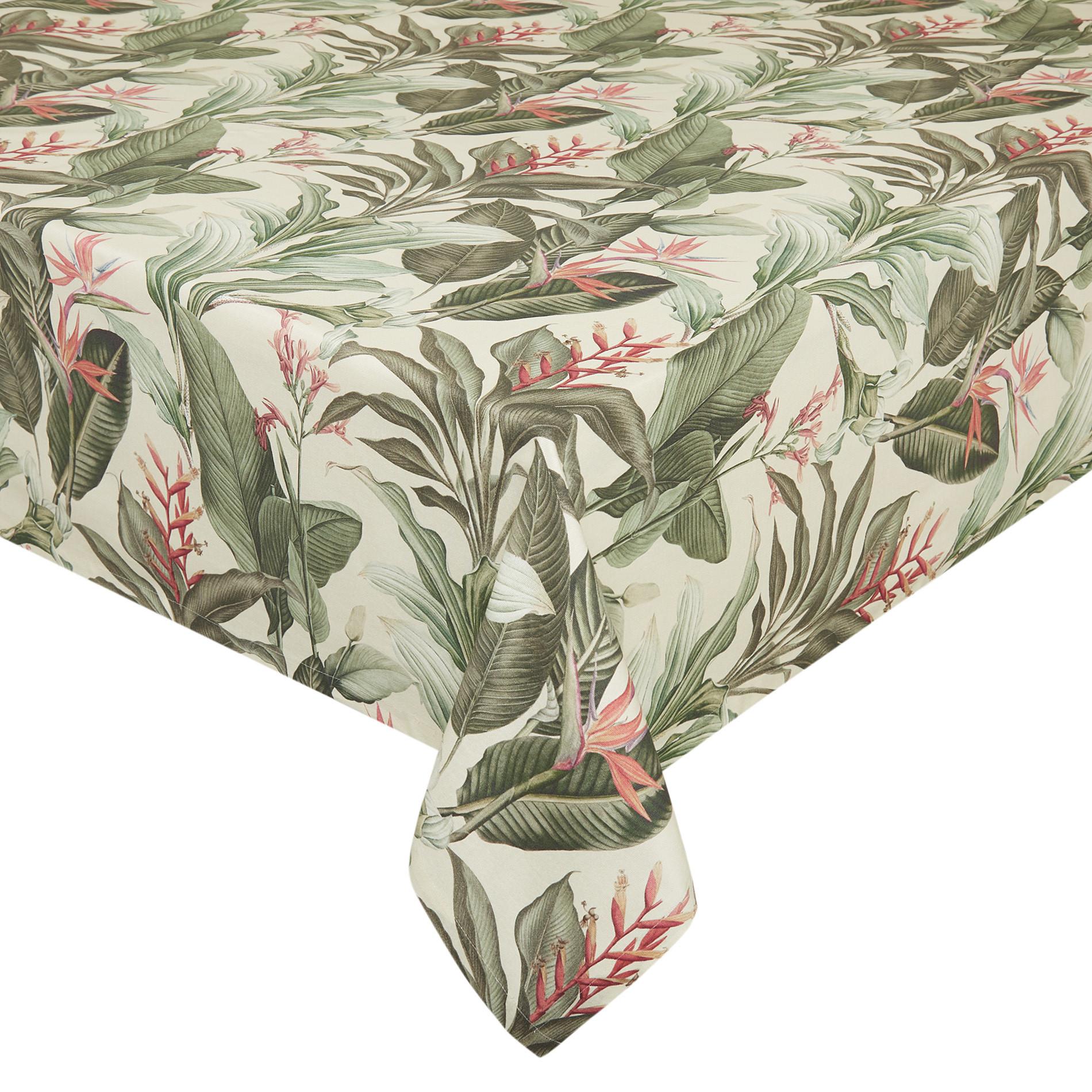Tovaglia puro cotone stampa giungla, Beige, large image number 0
