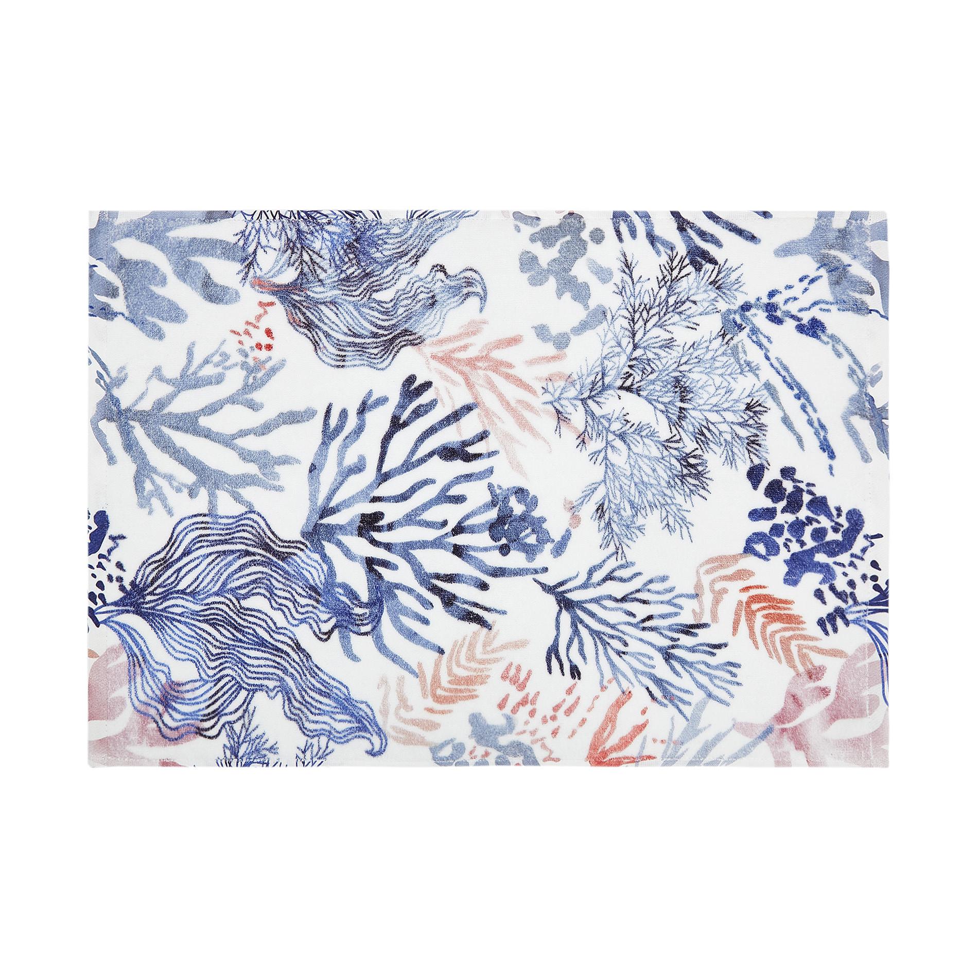 Asciugamano cotone velour stampa coralli, Bianco, large image number 1