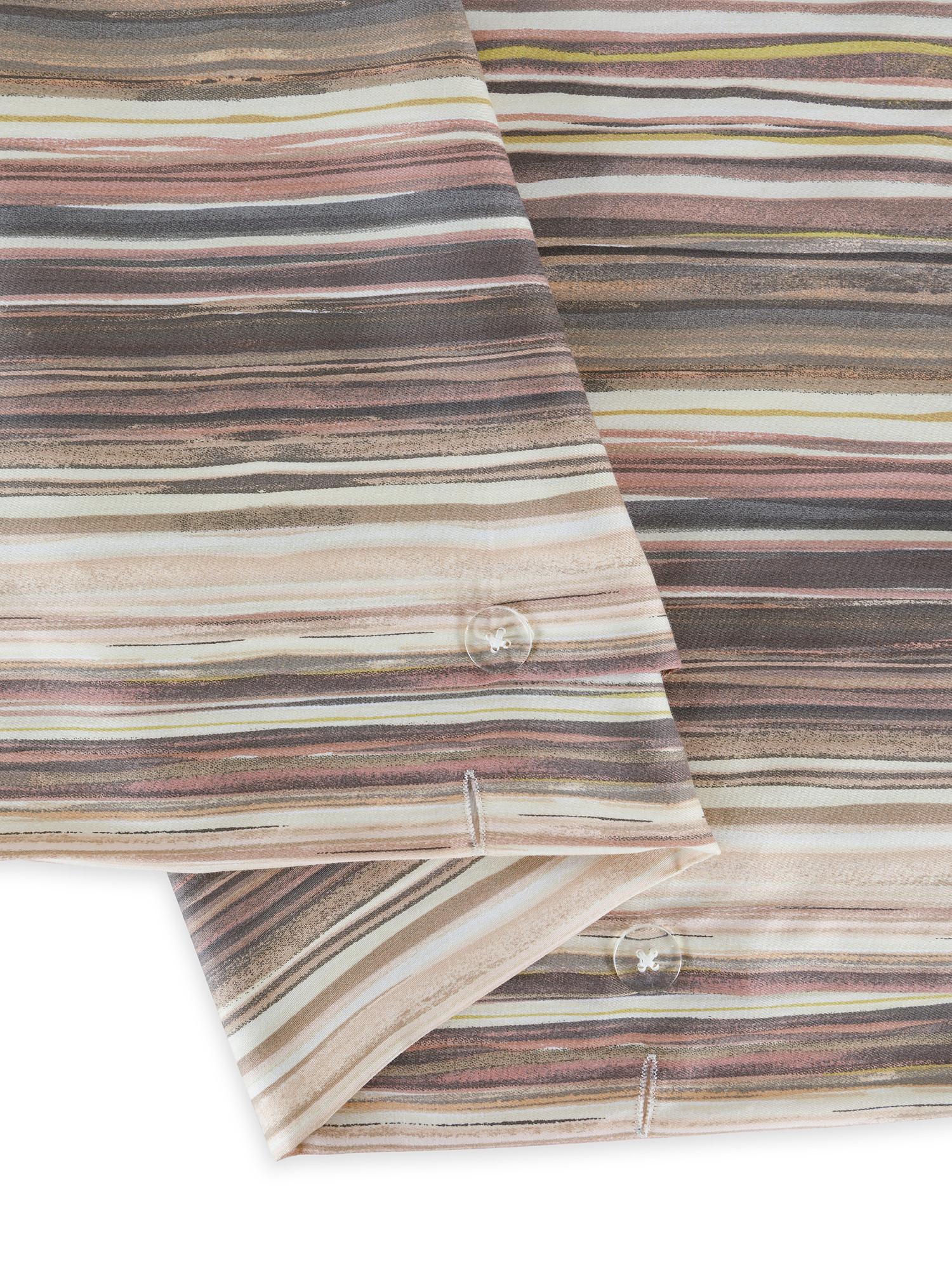 Copripiumino raso di cotone fantasia mille righe, Rosa, large image number 2
