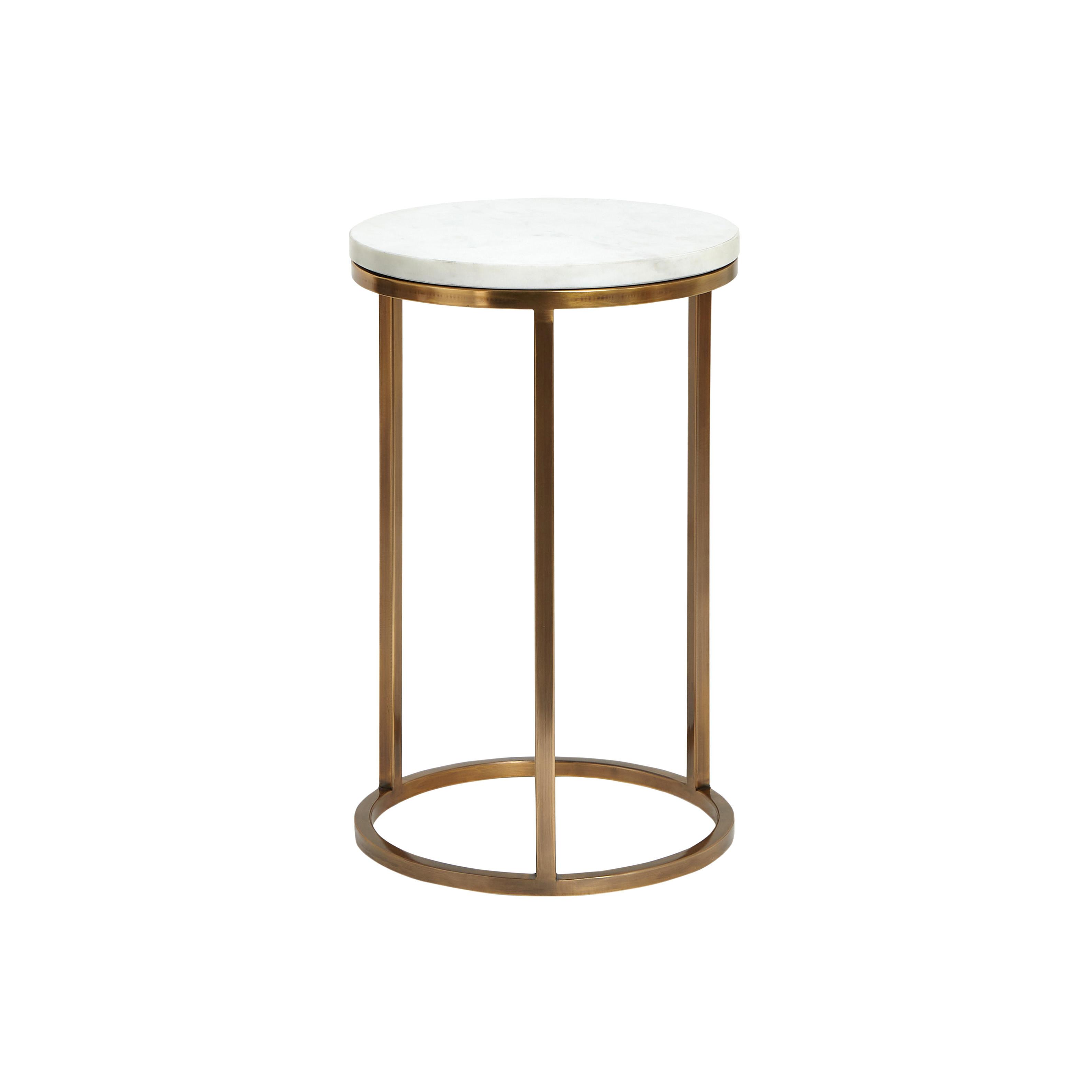 Set 2 tavolini acciaio e marmo Marble, Bianco, large image number 2
