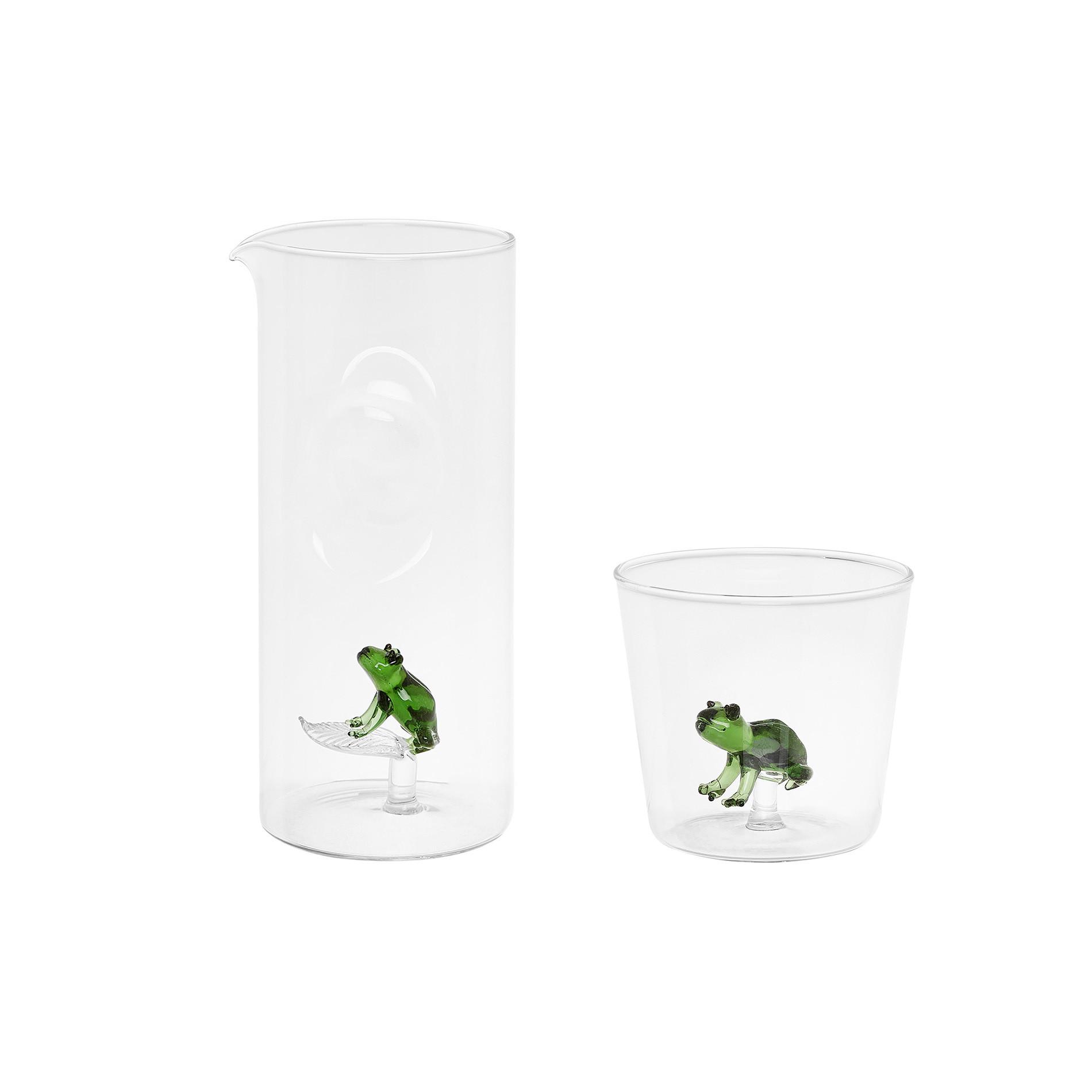 Bicchiere vetro dettaglio rana, Trasparente, large image number 1