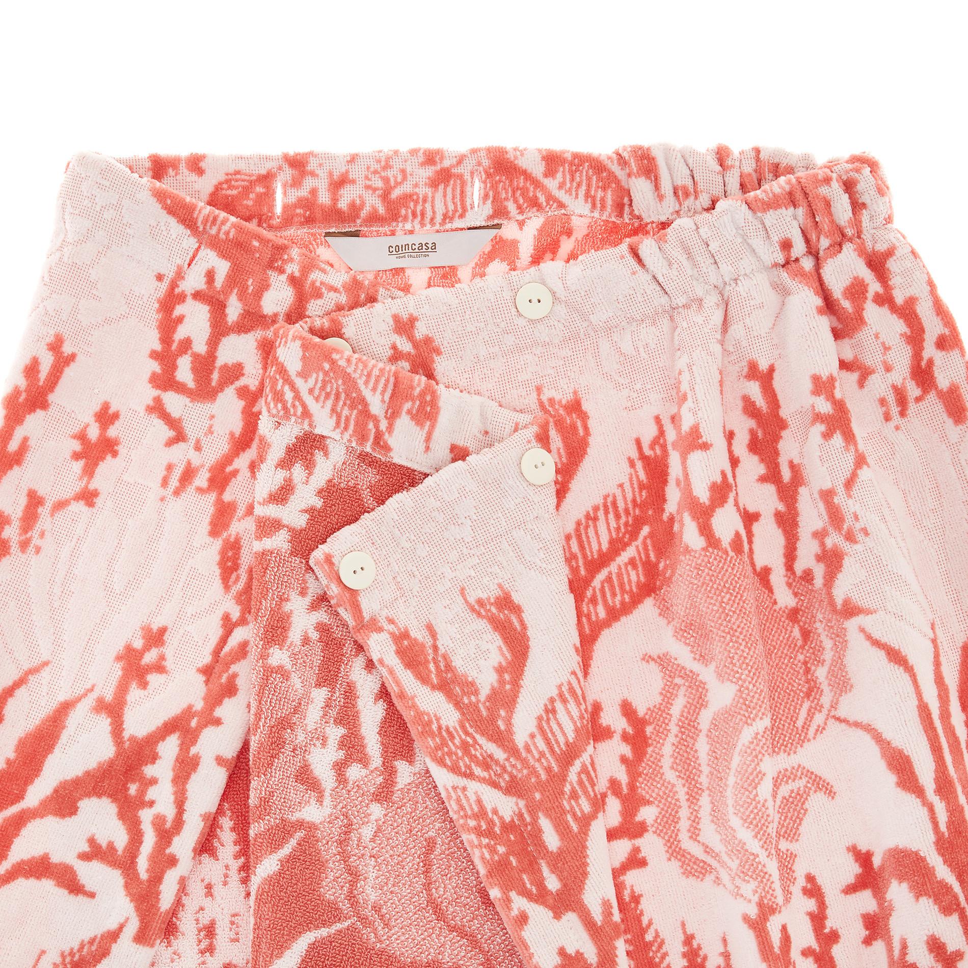 Pareo doccia cotone velour motivo coralli, Rosso corallo, large image number 1