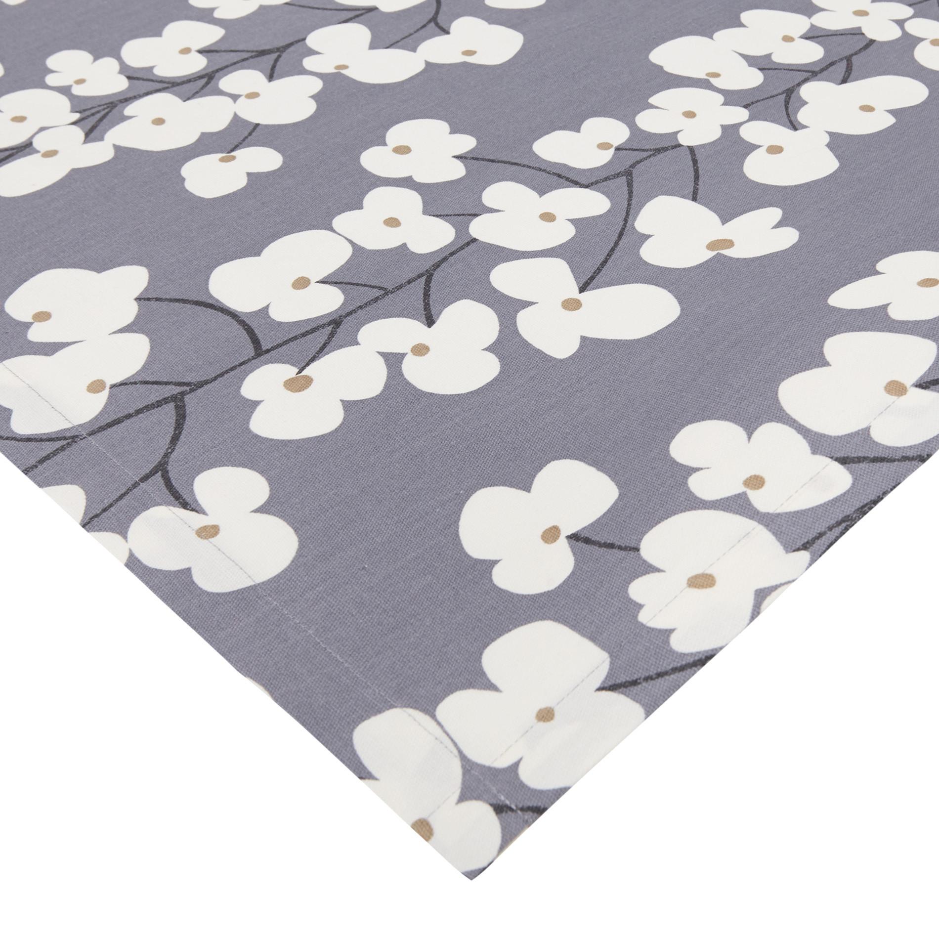 Centrotavola cotone stampa fiori, Bianco/Blu, large image number 0