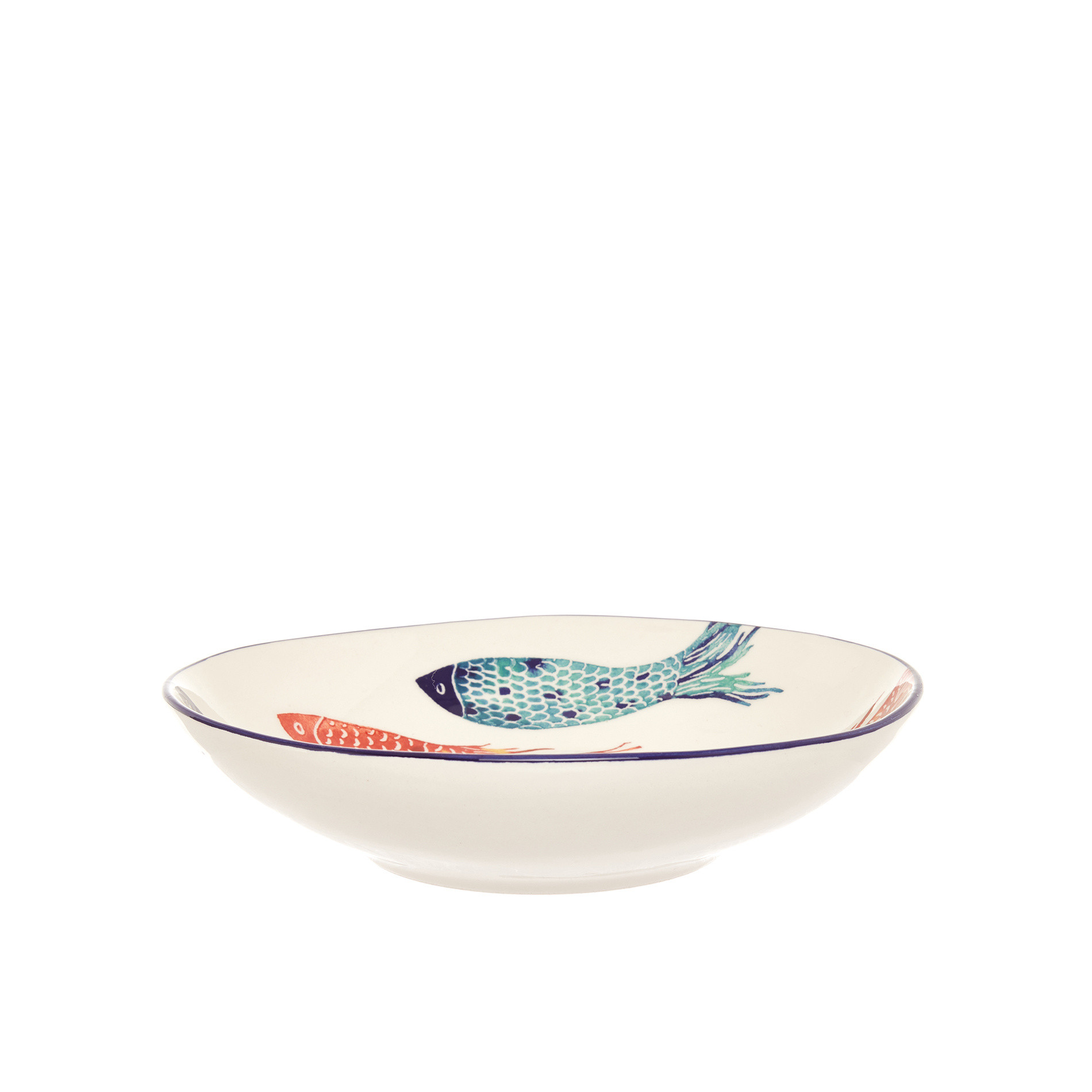 Piatto fondo ceramica decoro pesci, Bianco/Multicolor, large image number 0